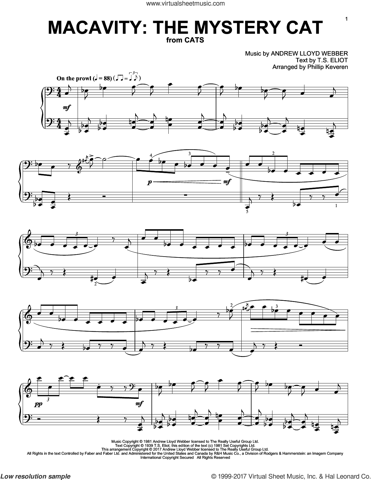 Macavity: The Mystery Cat sheet music for piano solo by Andrew Lloyd Webber, Phillip Keveren and T.S. Eliot, intermediate. Score Image Preview.