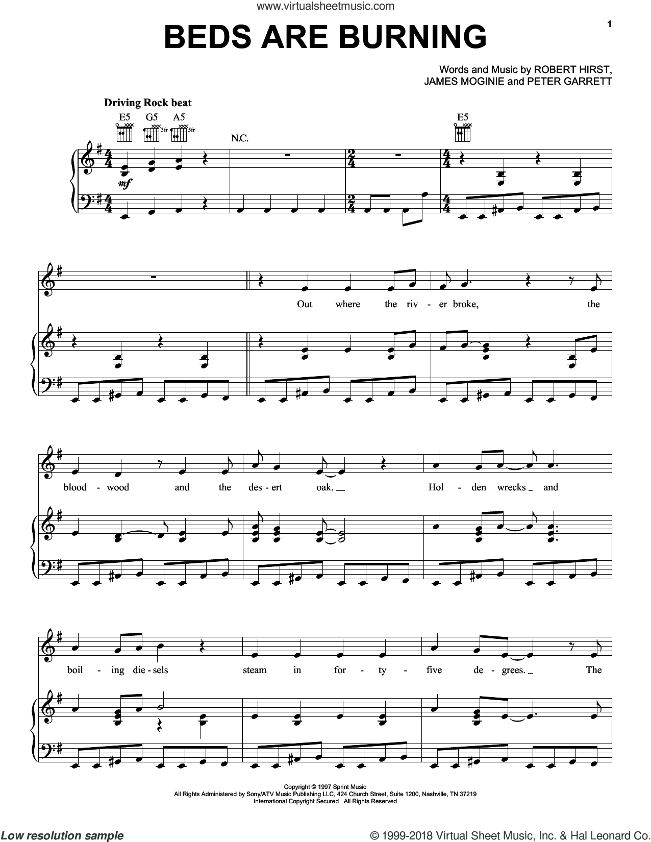 Beds Are Burning sheet music for voice, piano or guitar by Midnight Oil, Jim Moginie, Peter Garrett and Robert Hirst, intermediate skill level