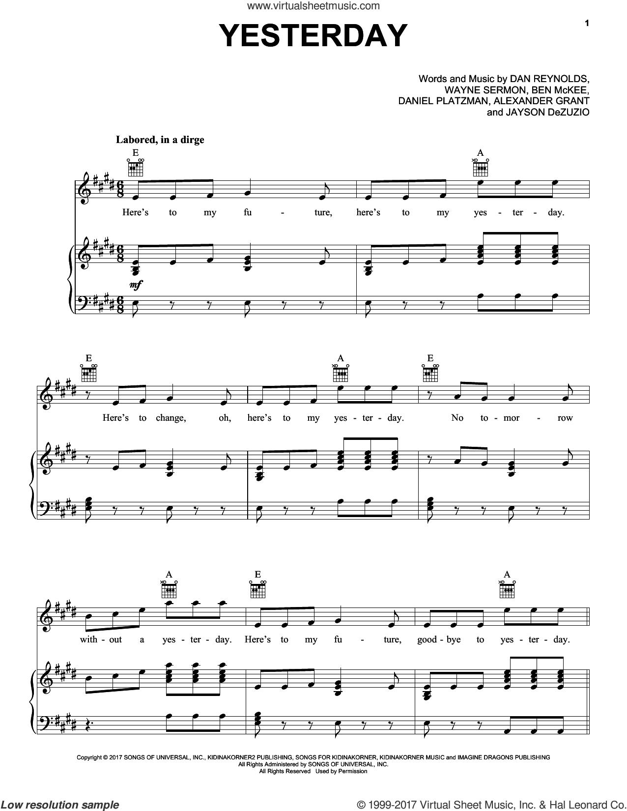 Yesterday sheet music for voice, piano or guitar by Imagine Dragons, Alexander Grant, Ben McKee, Dan Reynolds, Daniel Platzman, Jayson Dezuzio and Wayne Sermon, intermediate skill level