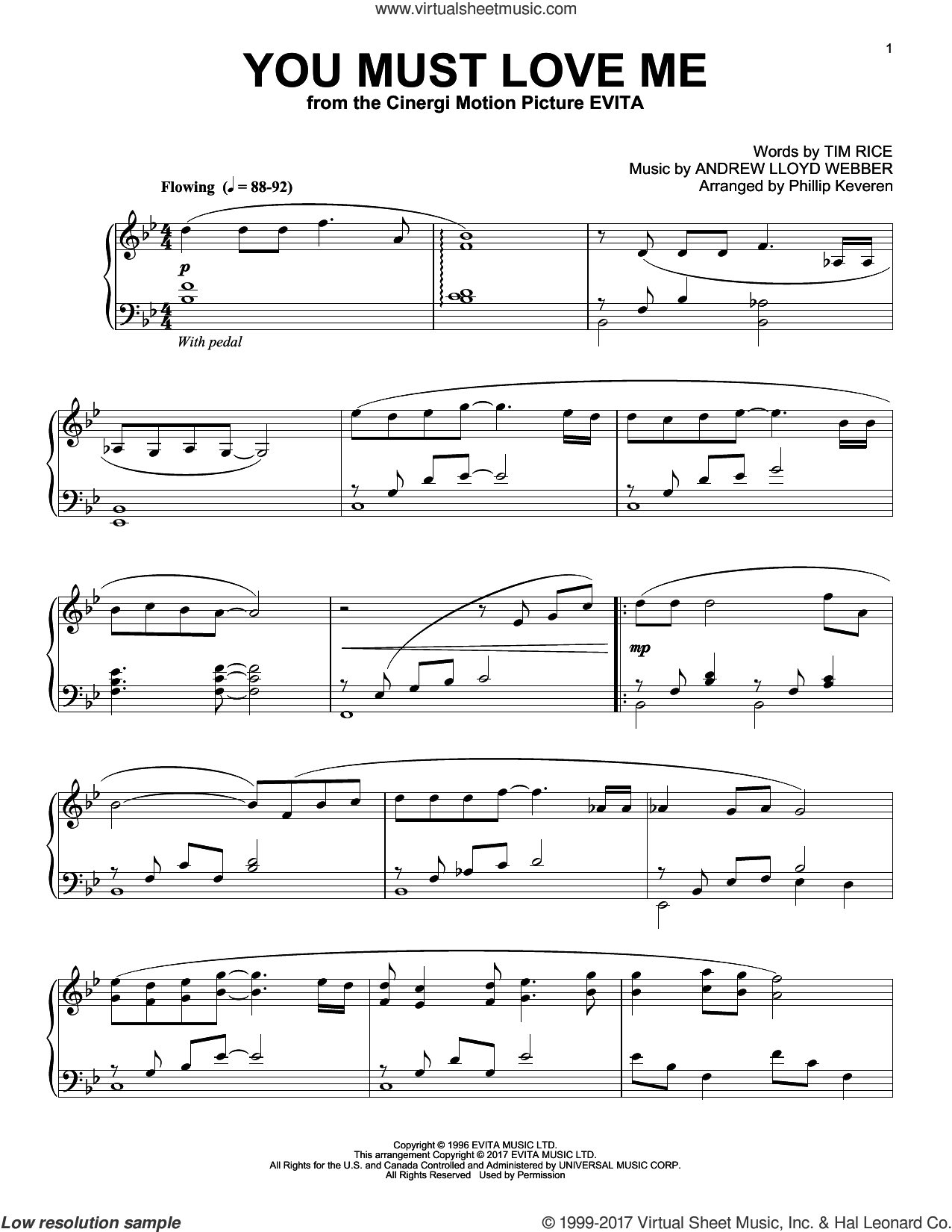 You Must Love Me sheet music for piano solo by Andrew Lloyd Webber, Phillip Keveren, Madonna and Tim Rice, intermediate