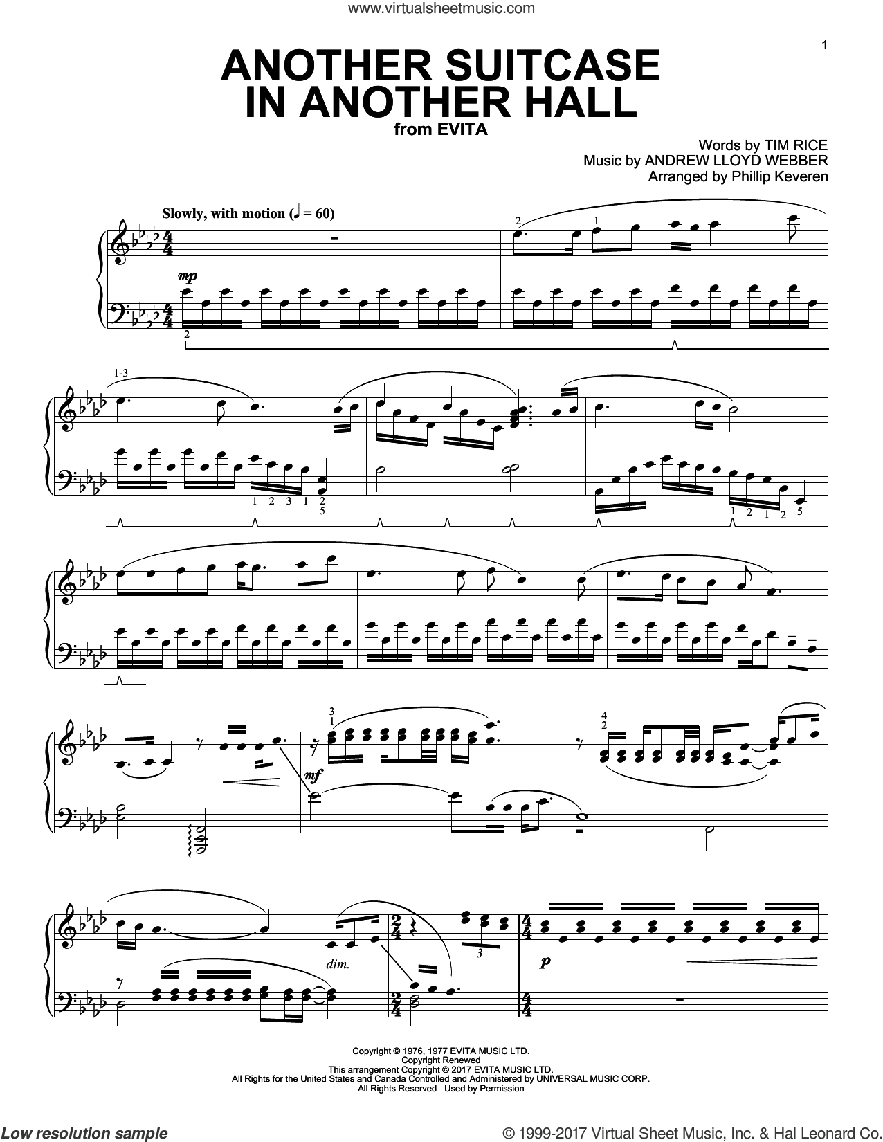 Another Suitcase In Another Hall sheet music for piano solo by Andrew Lloyd Webber, Phillip Keveren and Tim Rice. Score Image Preview.