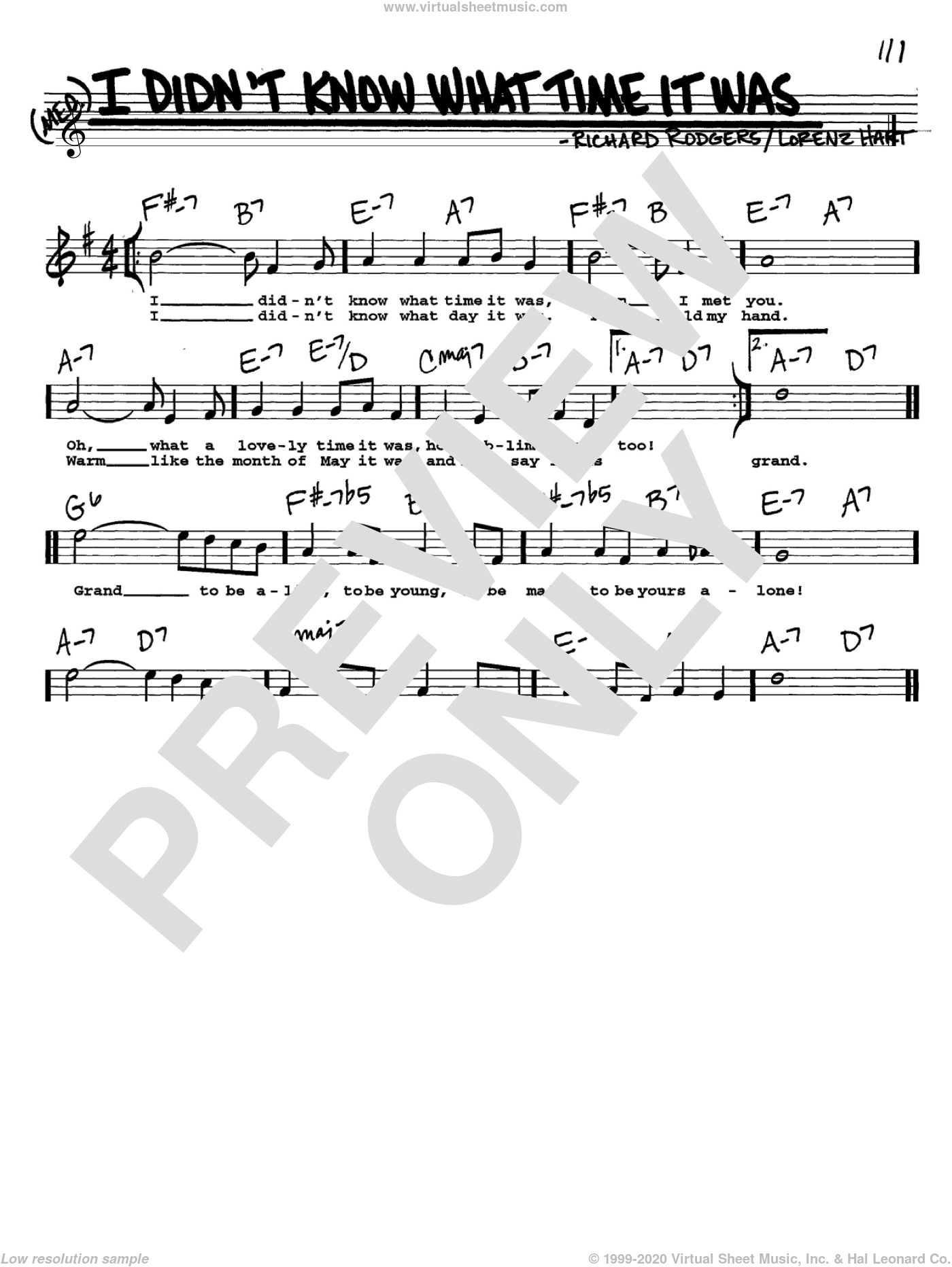 I Didn't Know What Time It Was sheet music for voice and other instruments  by Rodgers & Hart, Lorenz Hart and Richard Rodgers, intermediate skill level
