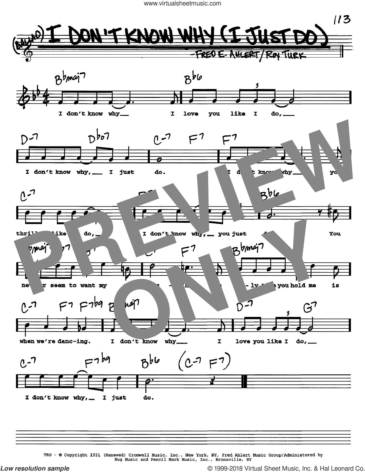 I Don't Know Why (I Just Do) sheet music for voice and other instruments (Vocal Volume 2) by Frank Sinatra, Dean Martin, Nat King Cole, Fred Ahlert and Roy Turk, intermediate voice. Score Image Preview.