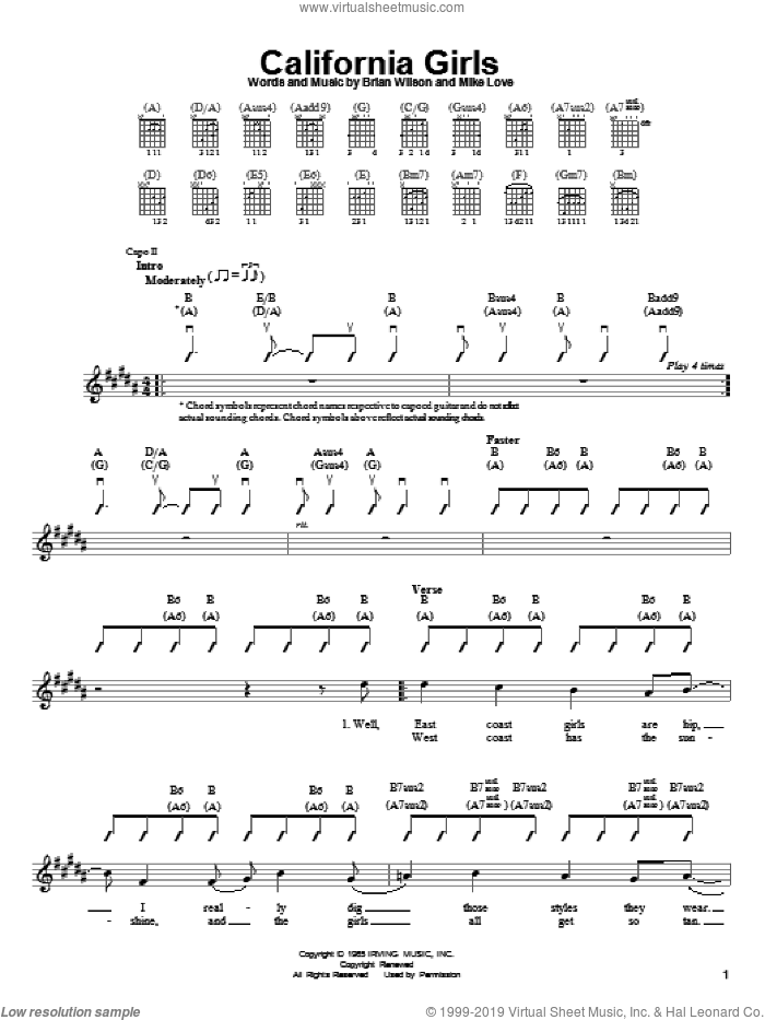 California Girls sheet music for guitar solo (chords) by The Beach Boys, David Lee Roth, Brian Wilson and Mike Love, easy guitar (chords)