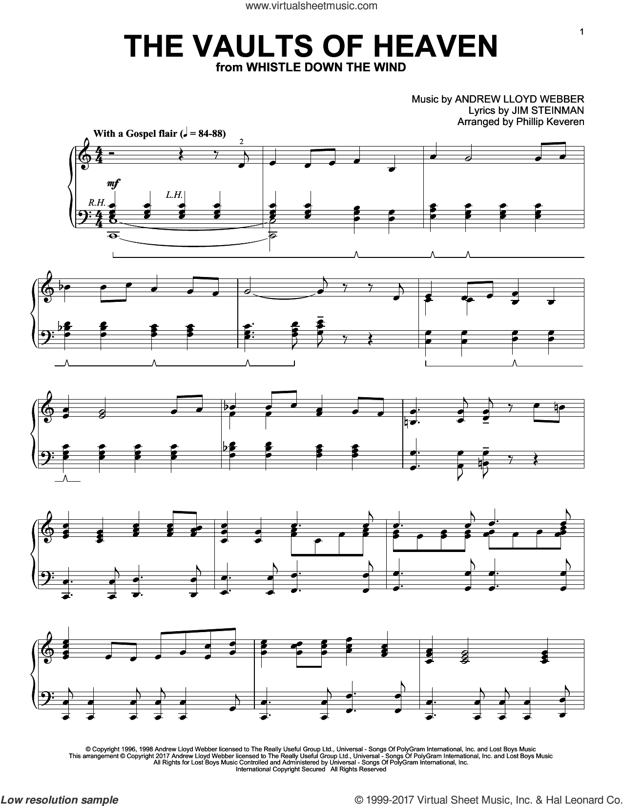 The Vaults Of Heaven sheet music for piano solo by Andrew Lloyd Webber, Phillip Keveren and Jim Steinman, intermediate. Score Image Preview.