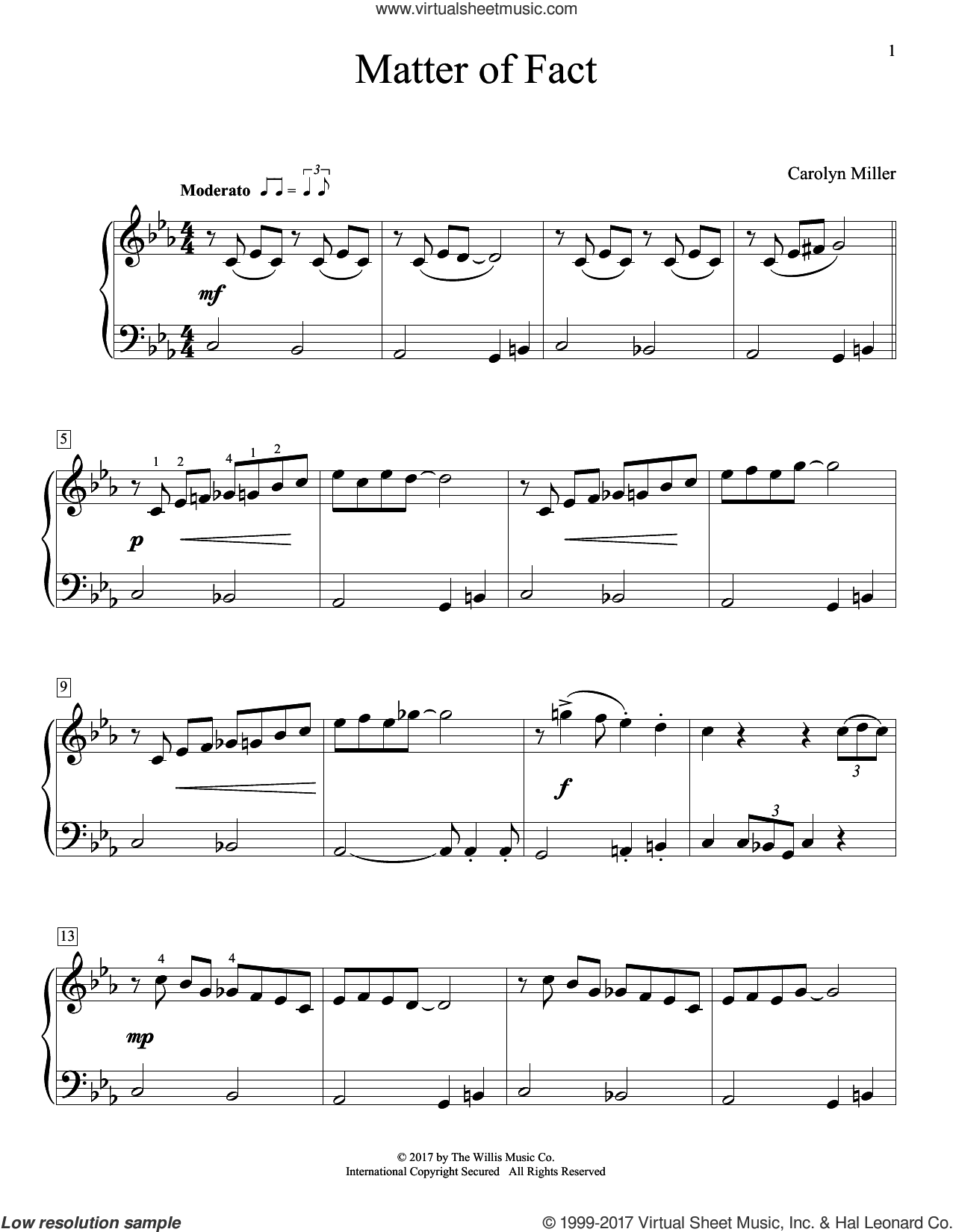 Matter Of Fact sheet music for piano solo (elementary) by Carolyn Miller, beginner piano (elementary)