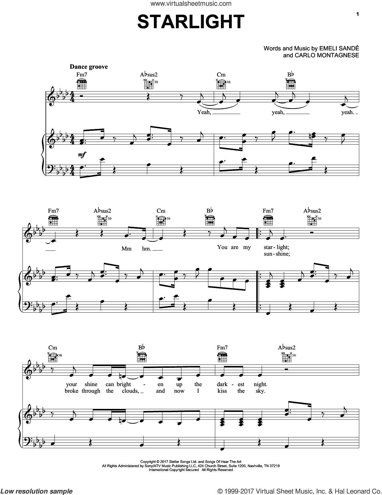 Starlight sheet music for voice, piano or guitar by Emeli Sande and Carlo Montagnese, intermediate. Score Image Preview.