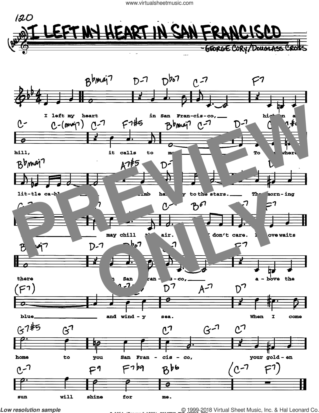 I Left My Heart In San Francisco sheet music for voice and other instruments (Vocal Volume 2) by George Cory and Tony Bennett. Score Image Preview.