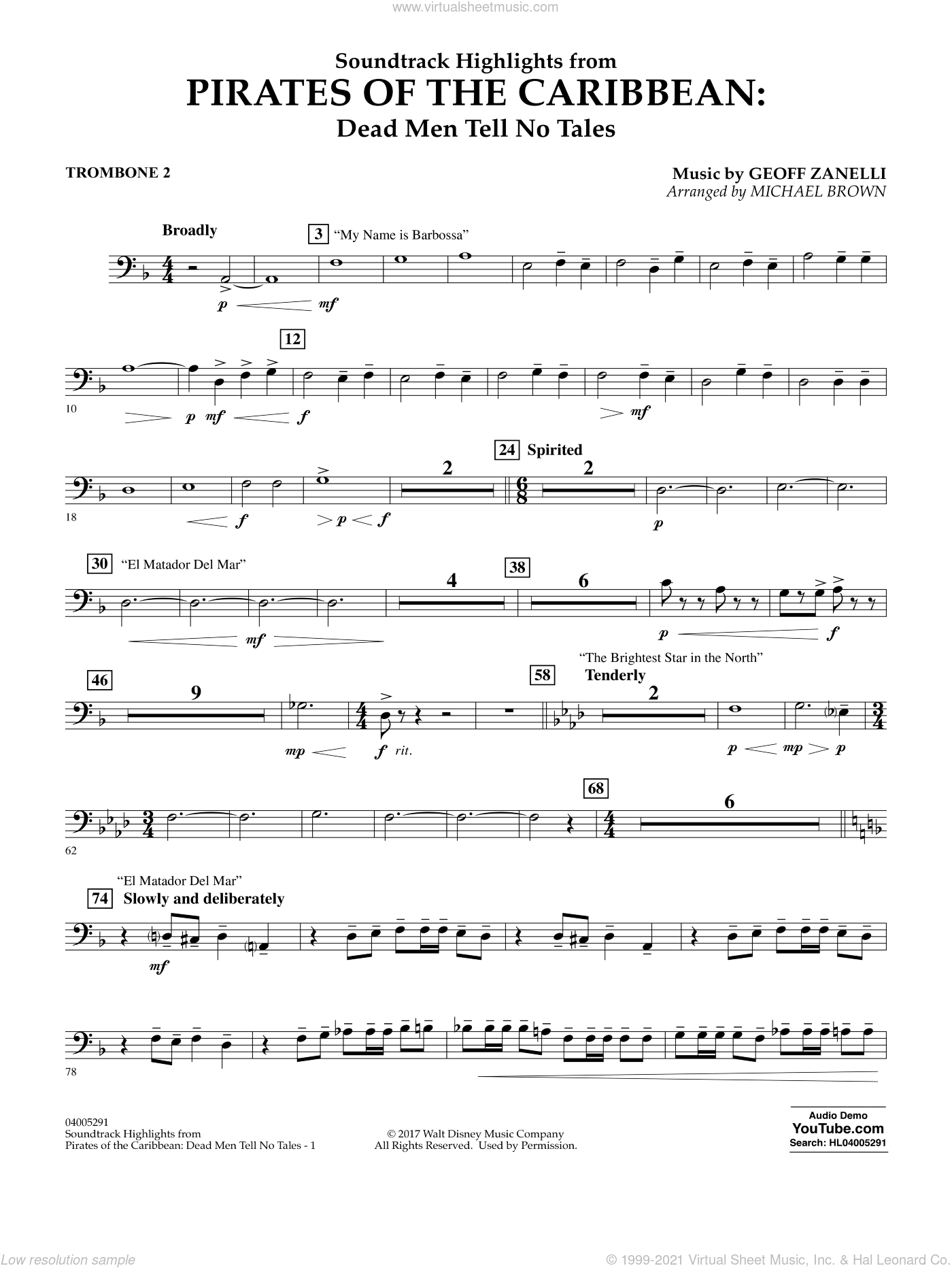 Pirates of the Caribbean: Dead Men Tell No Tales sheet music for concert band (trombone 2) by Michael Brown. Score Image Preview.