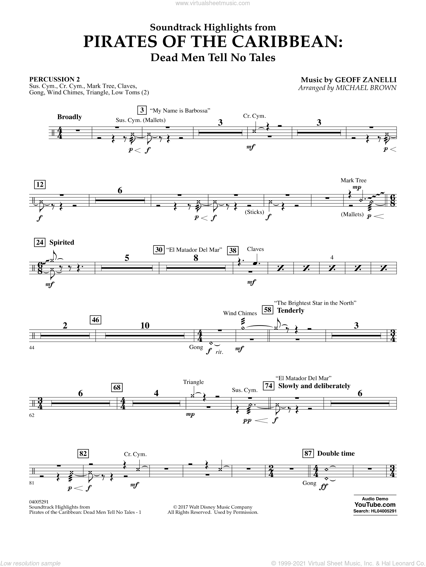 Pirates of the Caribbean: Dead Men Tell No Tales sheet music for concert band (percussion 2) by Michael Brown, classical score, intermediate. Score Image Preview.