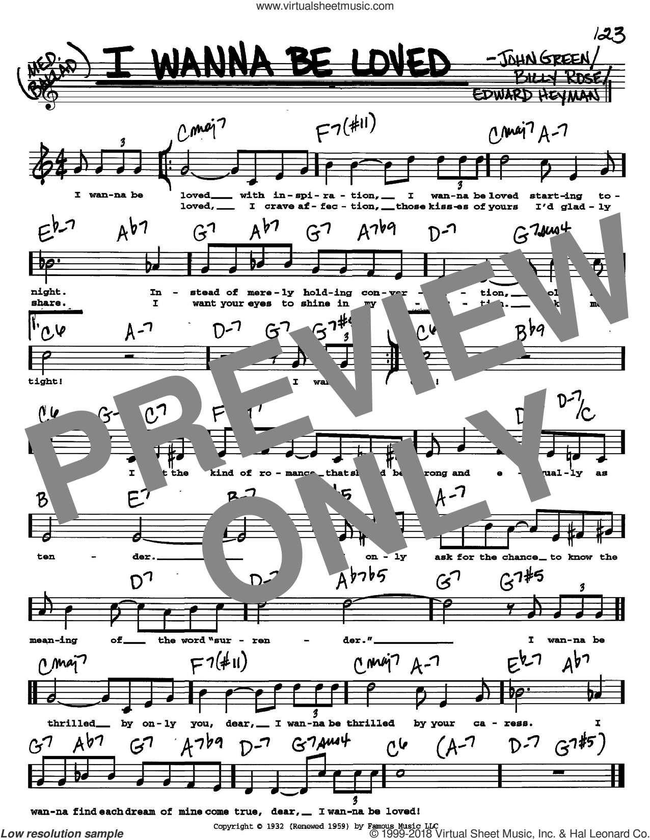 I Wanna Be Loved sheet music for voice and other instruments  by Billy Rose, Edward Heyman and Johnny Green, intermediate skill level