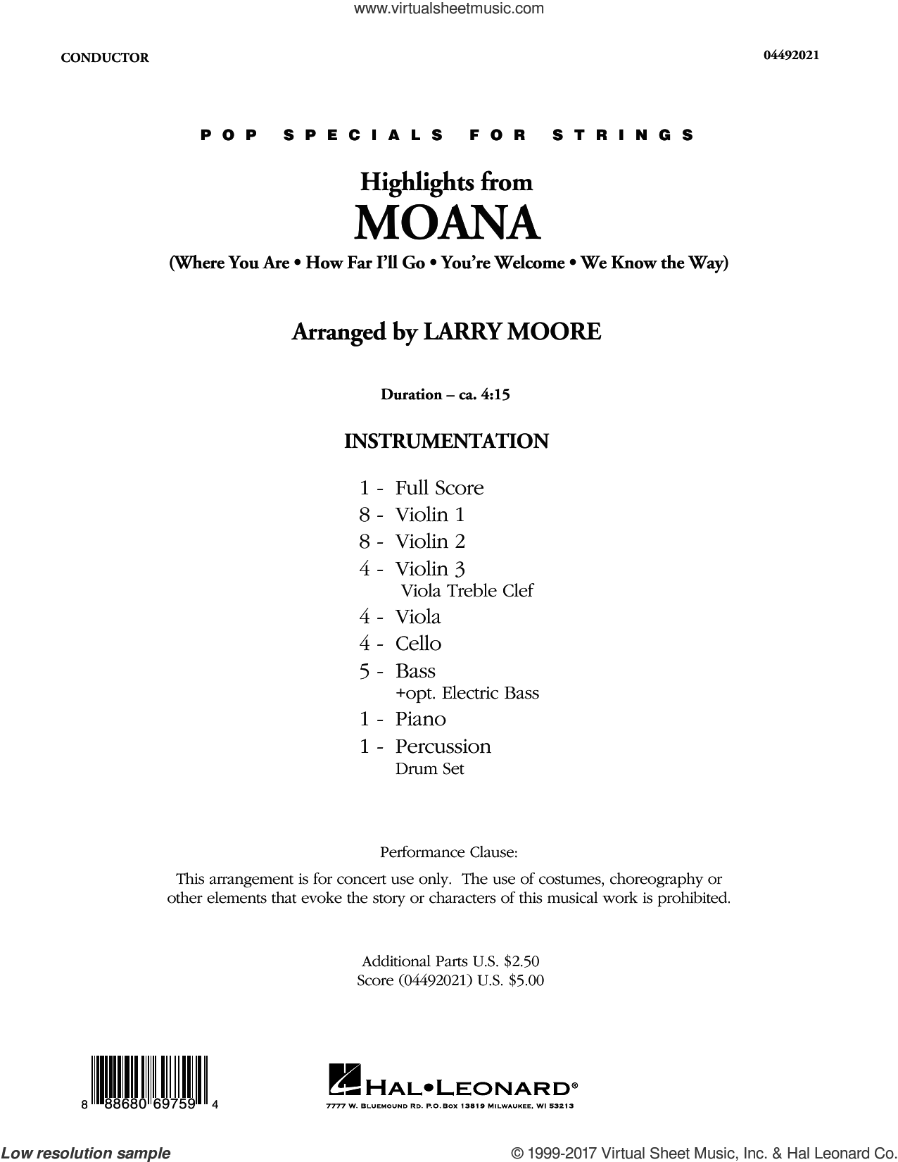 Moore Highlights From Moana Sheet Music Complete Collection For Orchestra