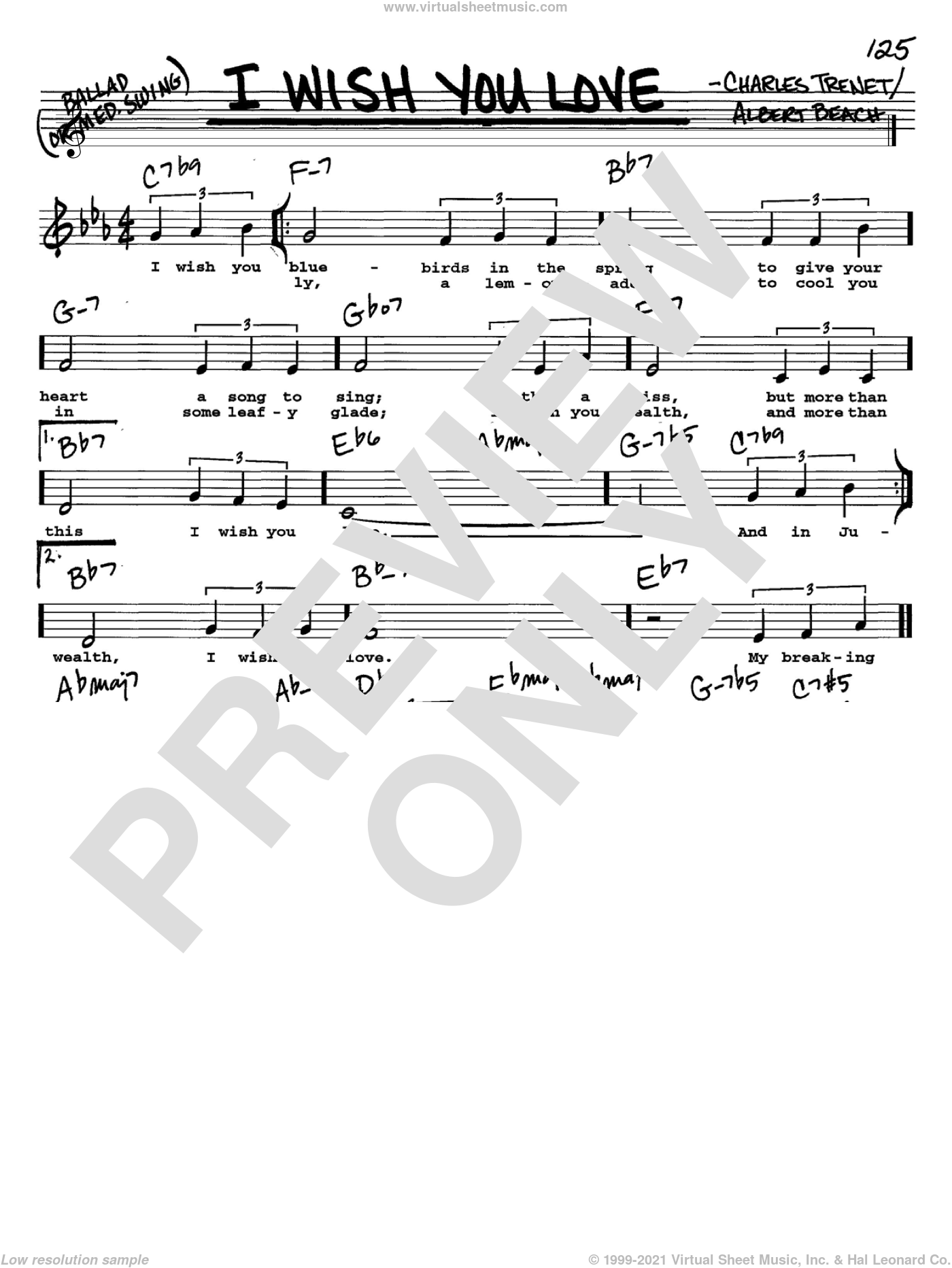 I Wish You Love sheet music for voice and other instruments (Vocal Volume 2) by Gloria Lynne and Charles Trenet, intermediate voice. Score Image Preview.