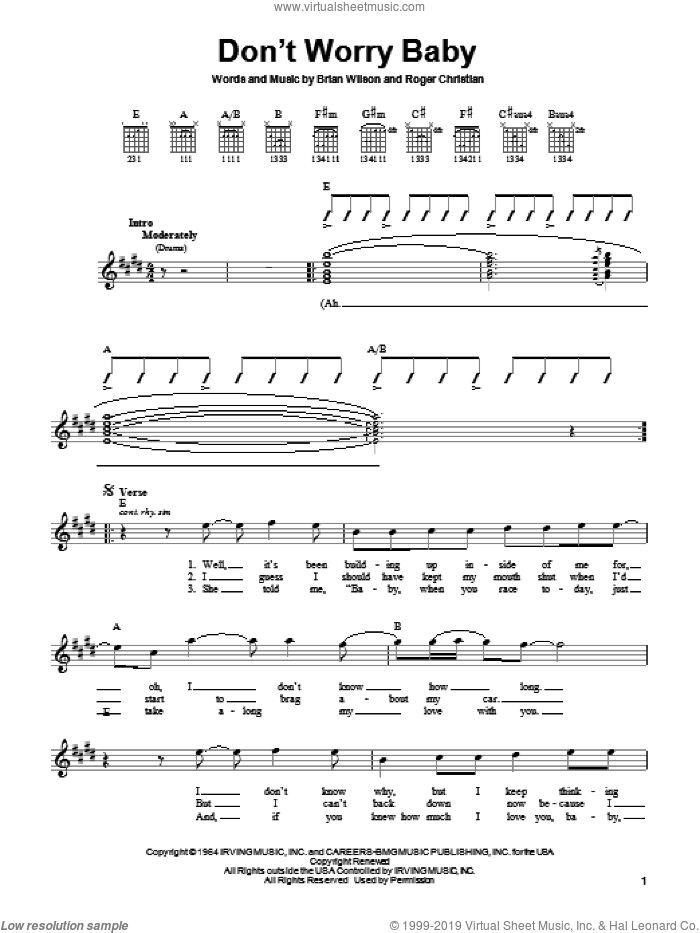 Don't Worry Baby sheet music for guitar solo (chords) by The Beach Boys, Lorrie Morgan, Brian Wilson and Roger Christian, easy guitar (chords)