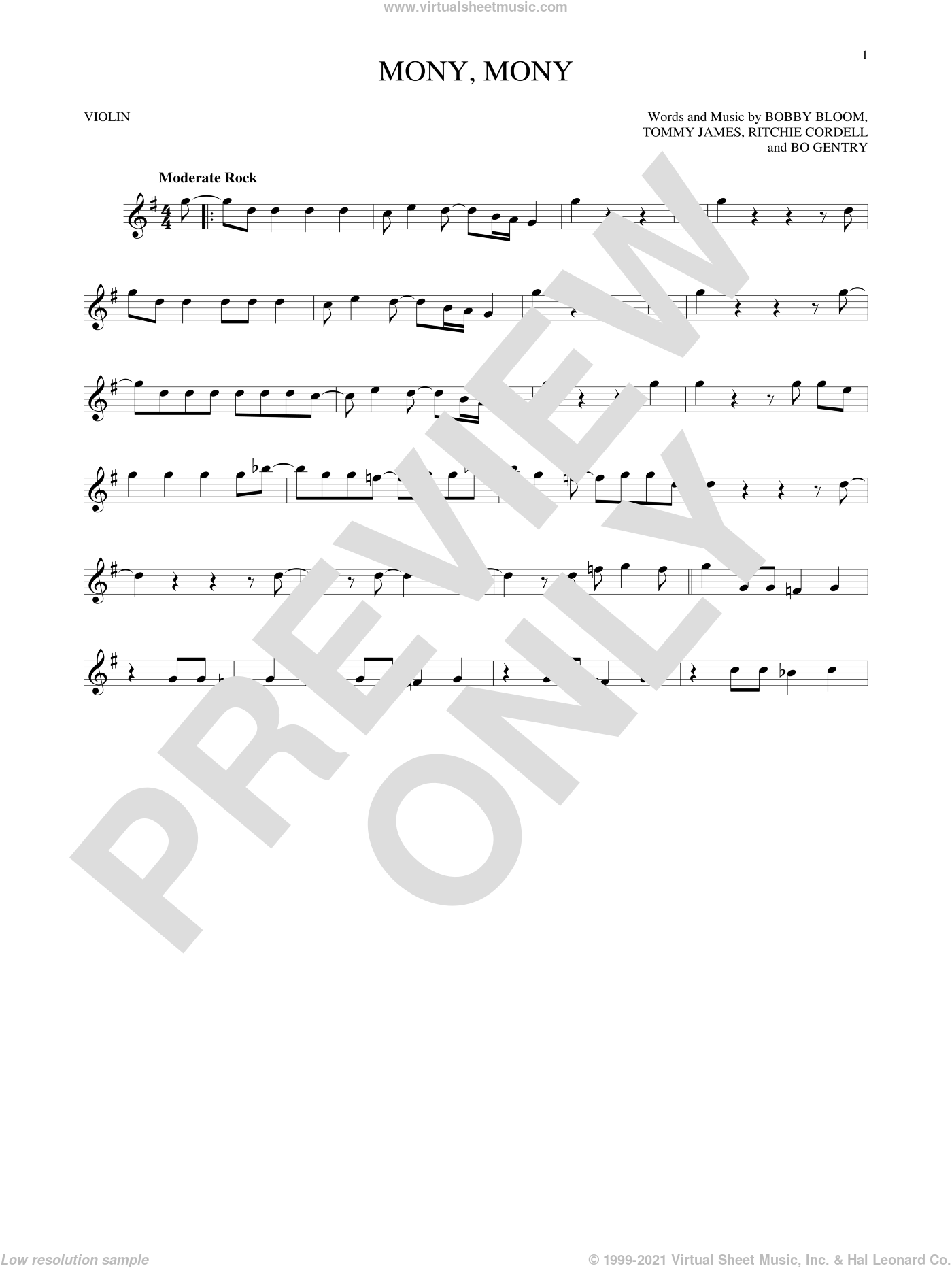 Mony, Mony sheet music for violin solo by Tommy James & The Shondells, Bobby Bloom and Ritchie Cordell, intermediate. Score Image Preview.