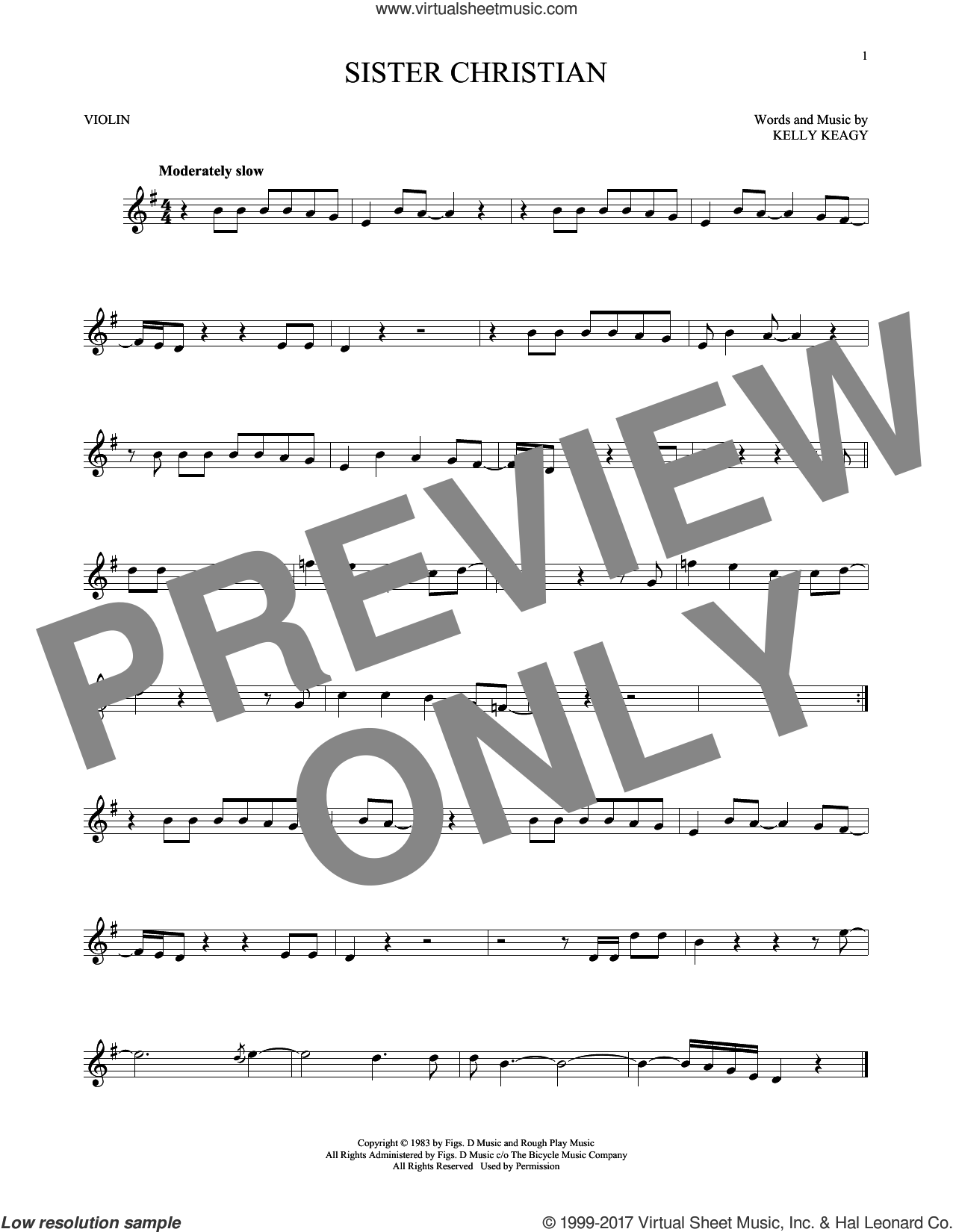 Sister Christian sheet music for violin solo by Night Ranger and Kelly Keagy, intermediate skill level