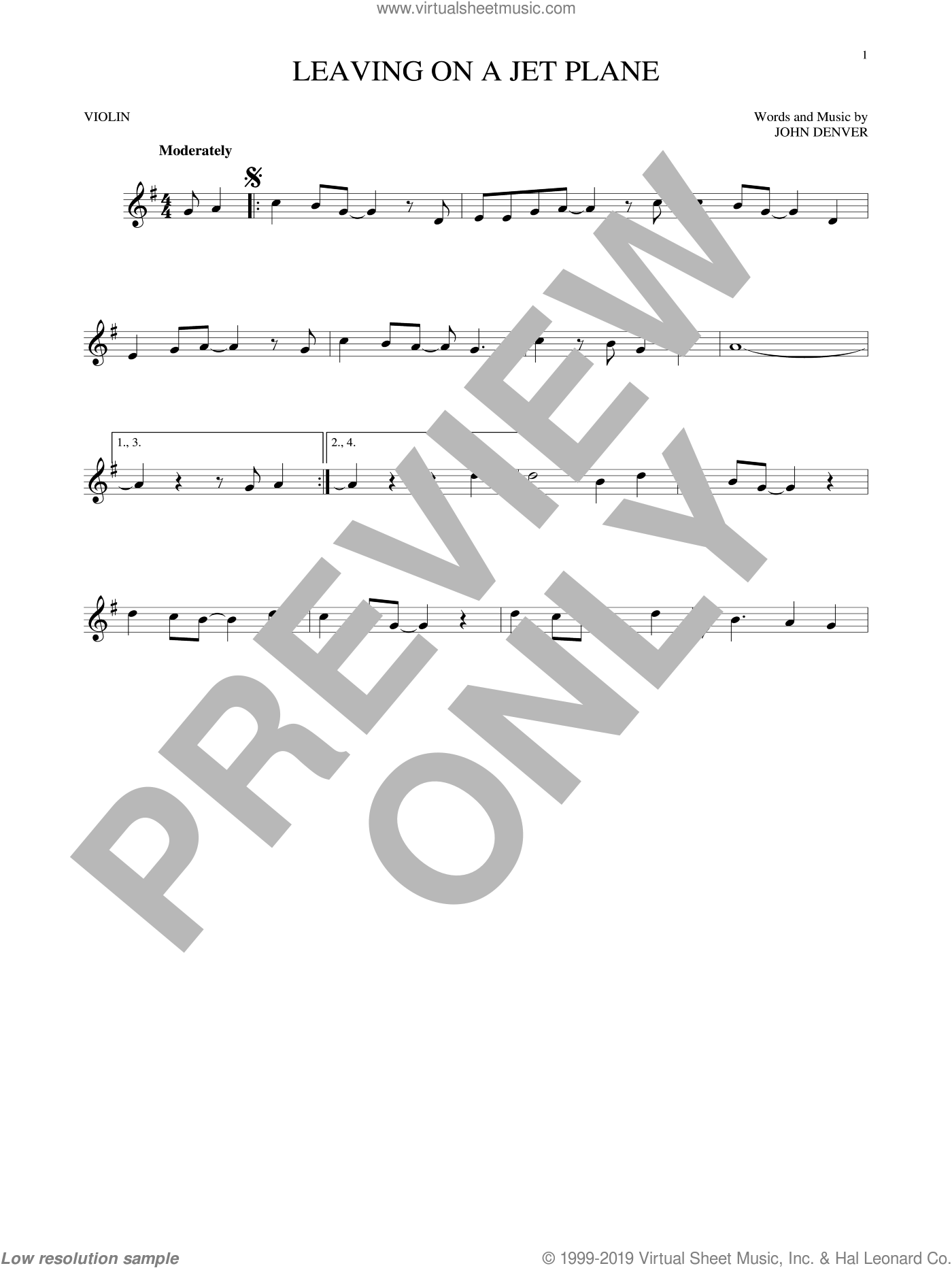 Leaving On A Jet Plane sheet music for violin solo by John Denver and Peter, Paul & Mary, intermediate skill level