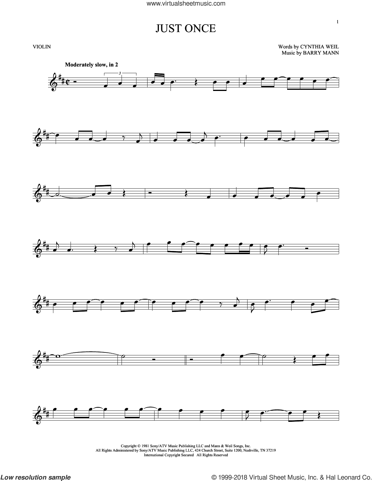 Just Once sheet music for violin solo by Quincy Jones featuring James Ingram, Barry Mann and Cynthia Weil, intermediate skill level