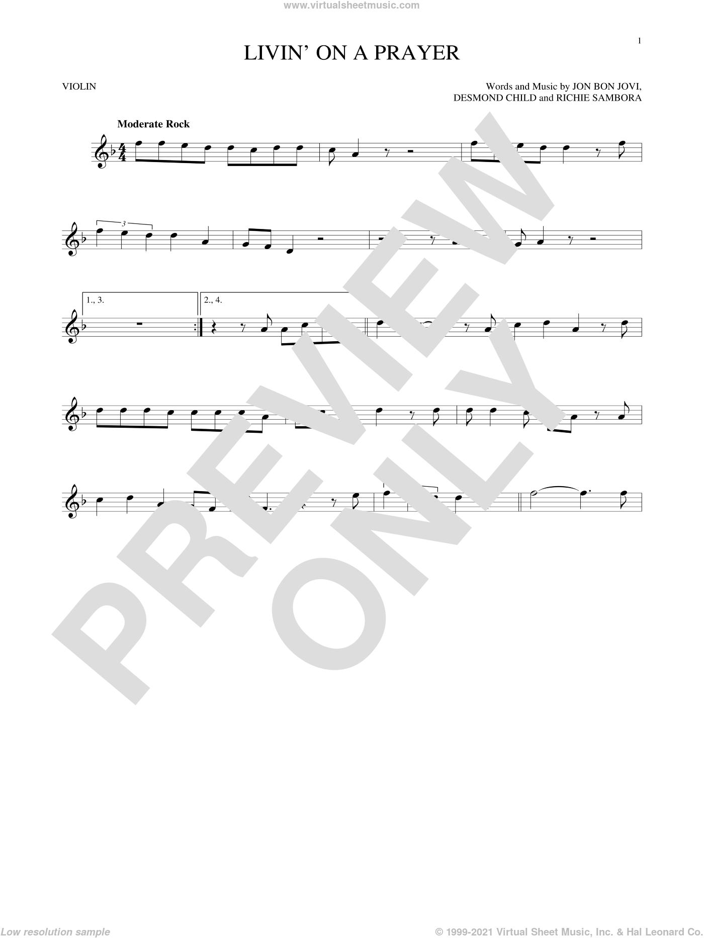 Livin' On A Prayer sheet music for violin solo by Bon Jovi, Desmond Child and Richie Sambora, intermediate skill level