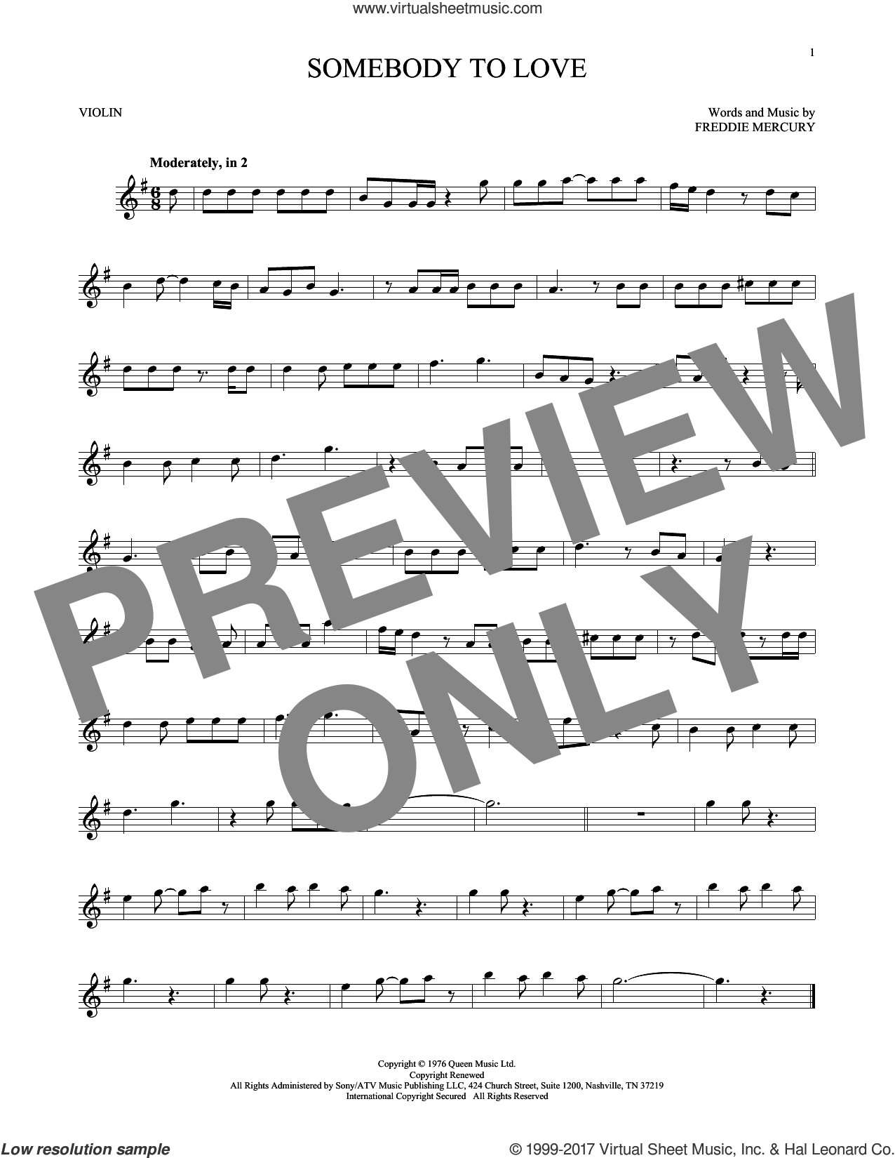 Somebody To Love sheet music for violin solo by Queen and Freddie Mercury, intermediate skill level