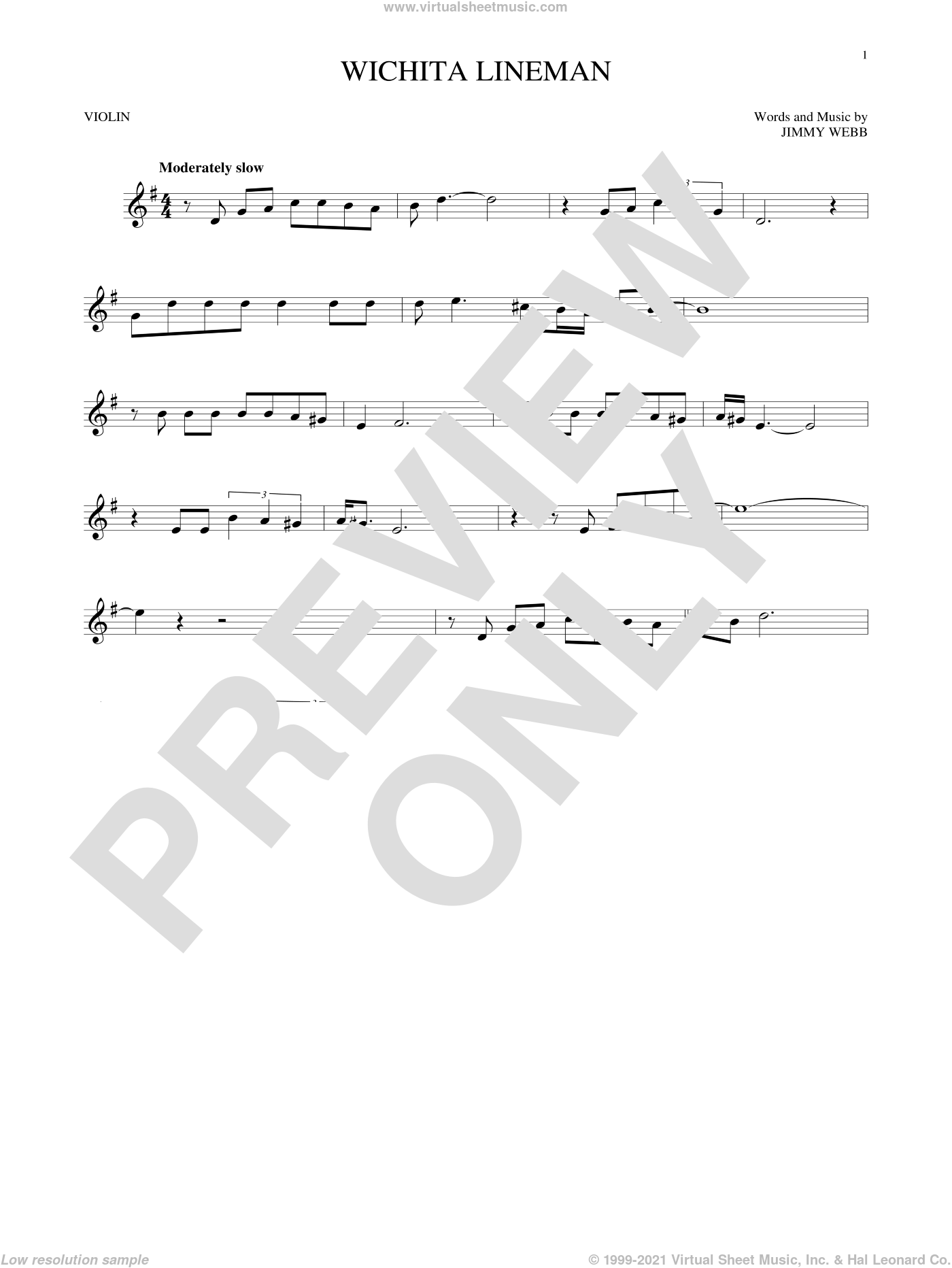 Wichita Lineman sheet music for violin solo by Glen Campbell, Wade Hayes and Jimmy Webb, intermediate skill level
