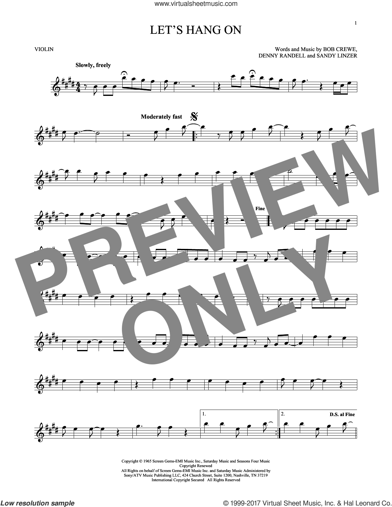 Let's Hang On sheet music for violin solo by The 4 Seasons, Manhattan Transfer, Bob Crewe and Sandy Linzer, intermediate. Score Image Preview.