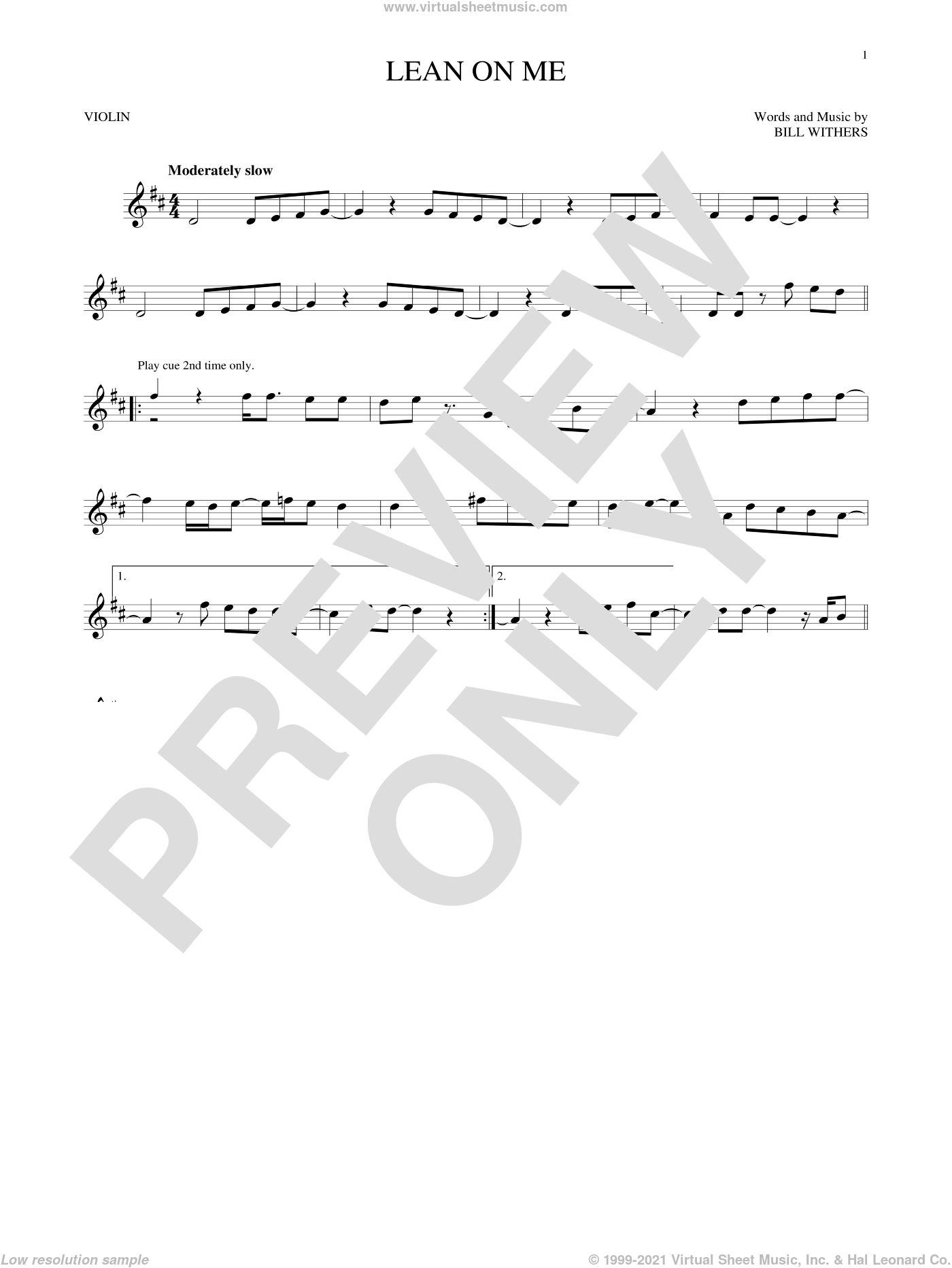Lean On Me sheet music for violin solo by Bill Withers, intermediate skill level