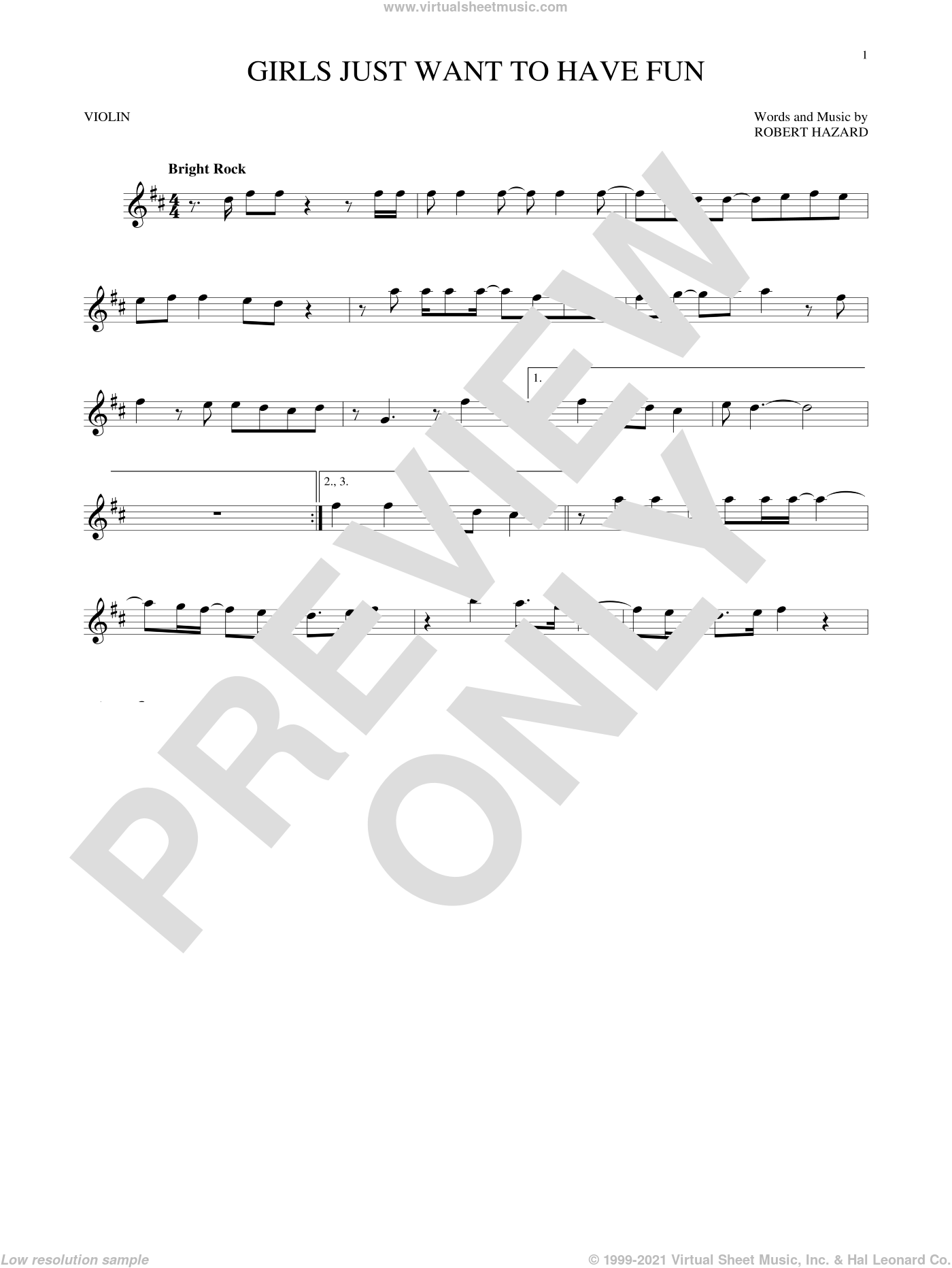Girls Just Want To Have Fun sheet music for violin solo by Cyndi Lauper and Robert Hazard, intermediate skill level