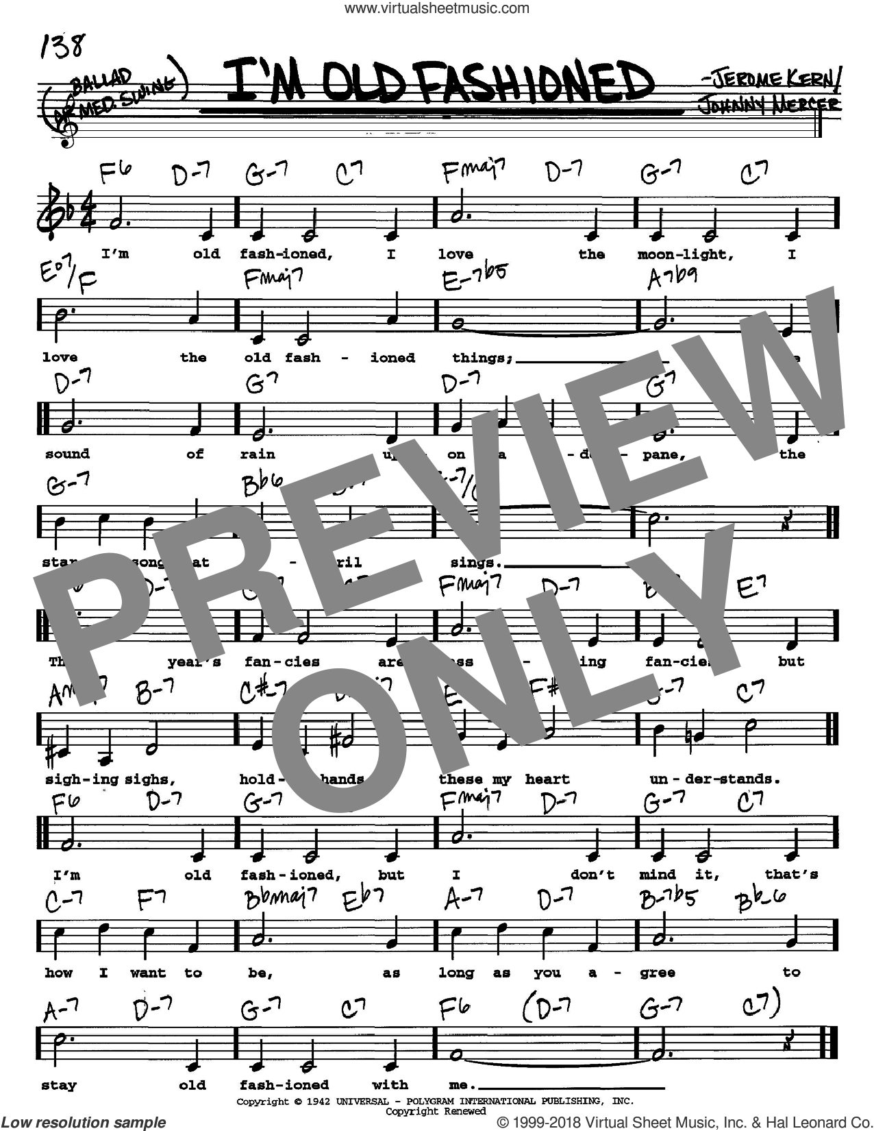 I'm Old Fashioned sheet music for voice and other instruments  by Jerome Kern and Johnny Mercer, intermediate skill level