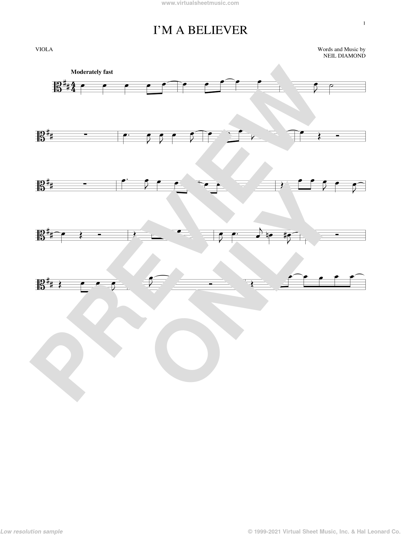 I'm A Believer sheet music for viola solo by Neil Diamond and The Monkees, intermediate skill level