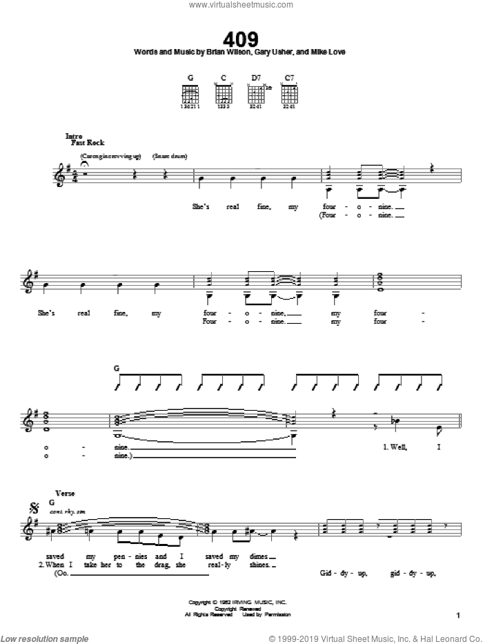 409 sheet music for guitar solo (chords) by The Beach Boys, Brian Wilson, Gary Usher and Mike Love, easy guitar (chords)