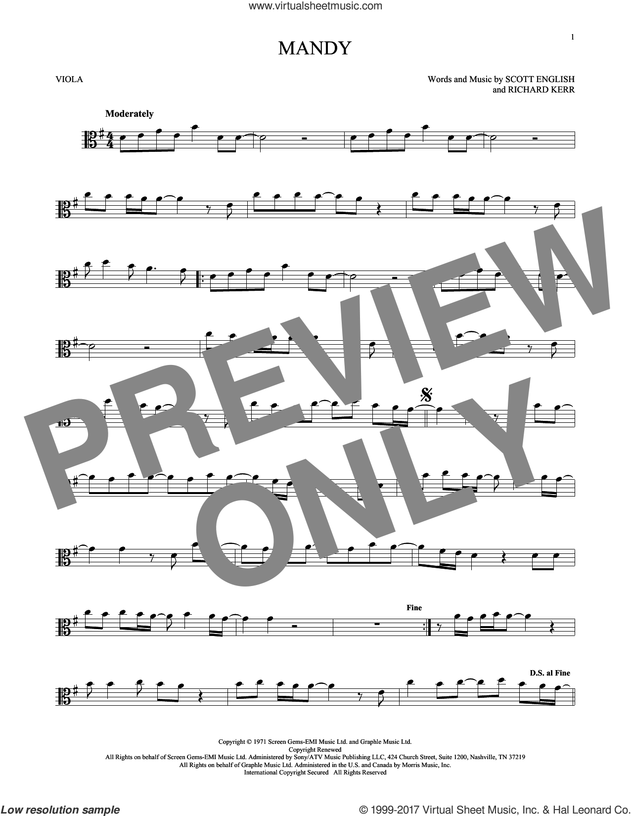 Mandy sheet music for viola solo by Barry Manilow, Richard Kerr and Scott English, intermediate skill level
