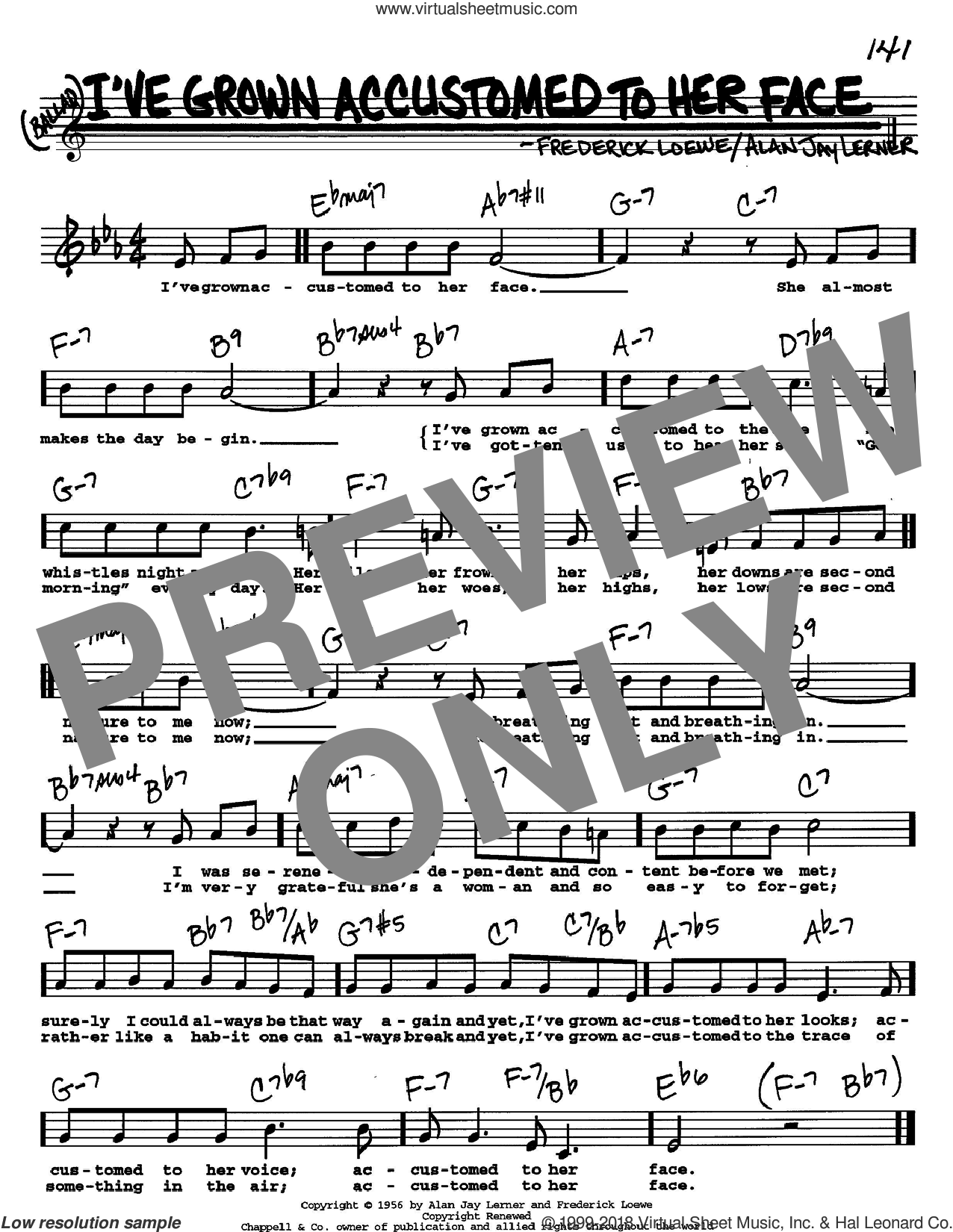 I've Grown Accustomed To Her Face sheet music for voice and other instruments (Vocal Volume 2) by Lerner & Loewe, Alan Jay Lerner and Frederick Loewe. Score Image Preview.