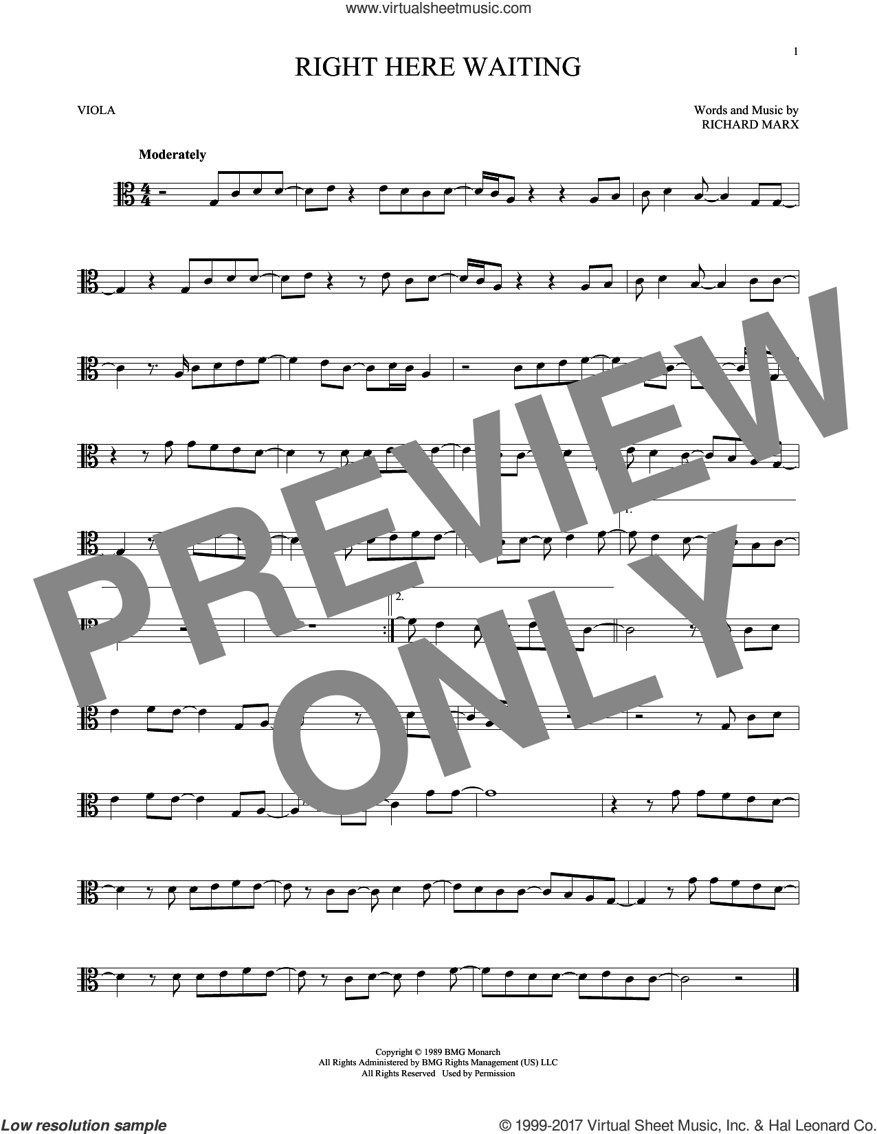 Right Here Waiting sheet music for viola solo by Richard Marx, intermediate. Score Image Preview.