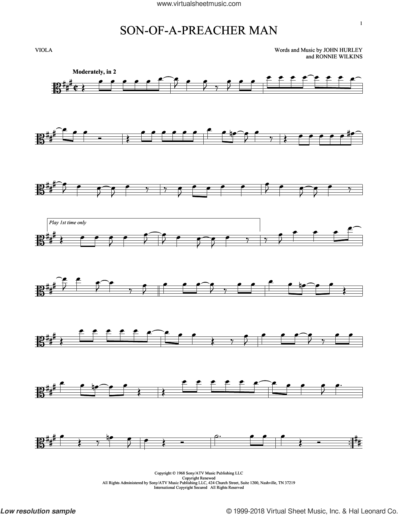 Son-Of-A-Preacher Man sheet music for viola solo by Dusty Springfield, John Hurley and Ronnie Wilkins, intermediate skill level
