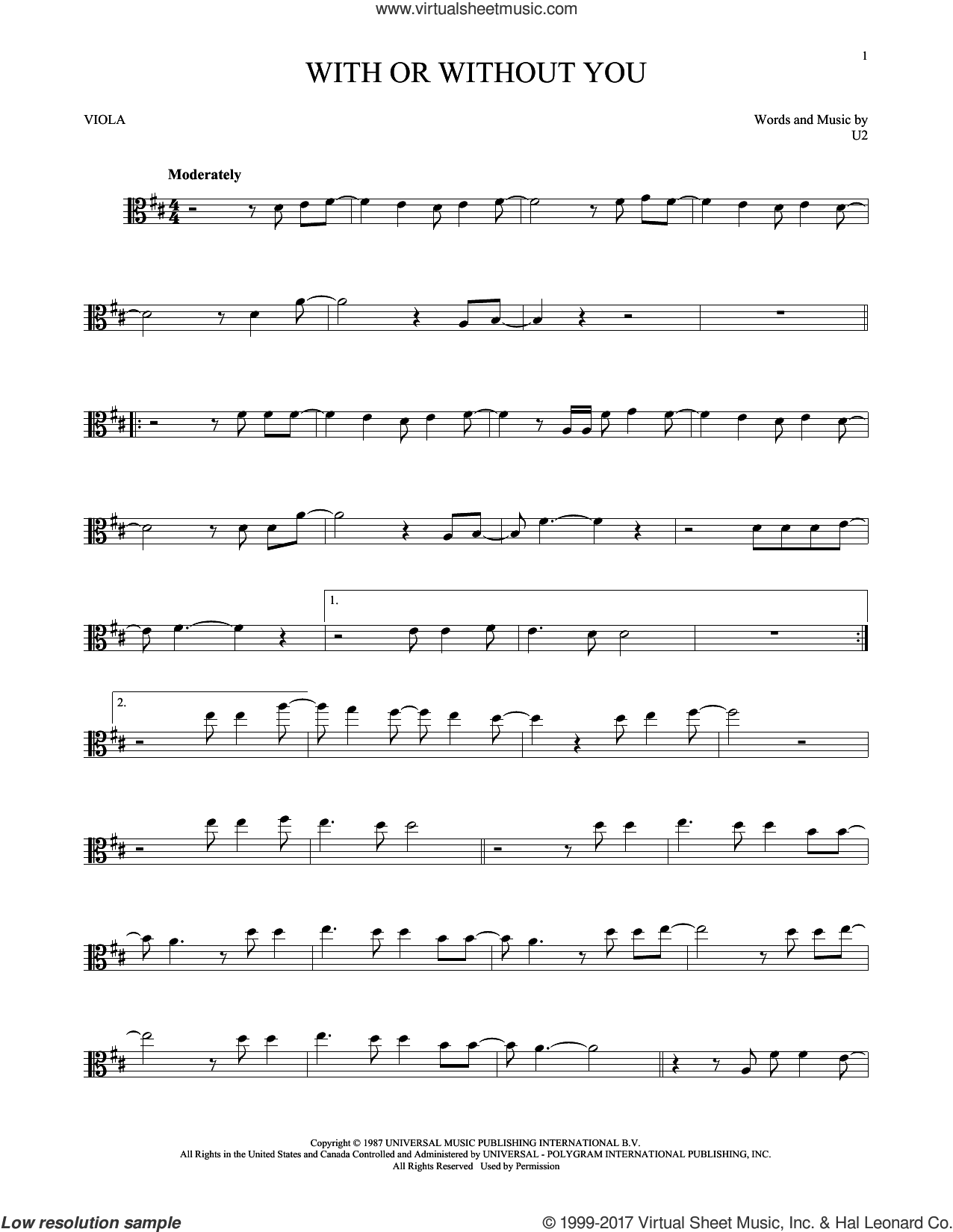 With Or Without You sheet music for viola solo by U2, intermediate skill level