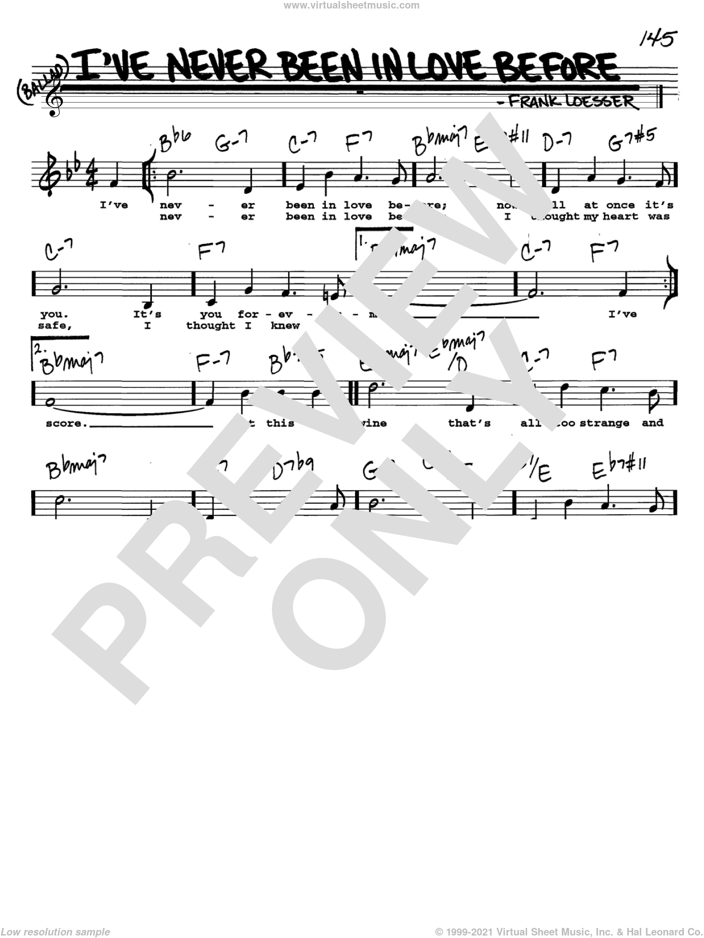 I've Never Been In Love Before sheet music for voice and other instruments  by Frank Loesser, intermediate skill level