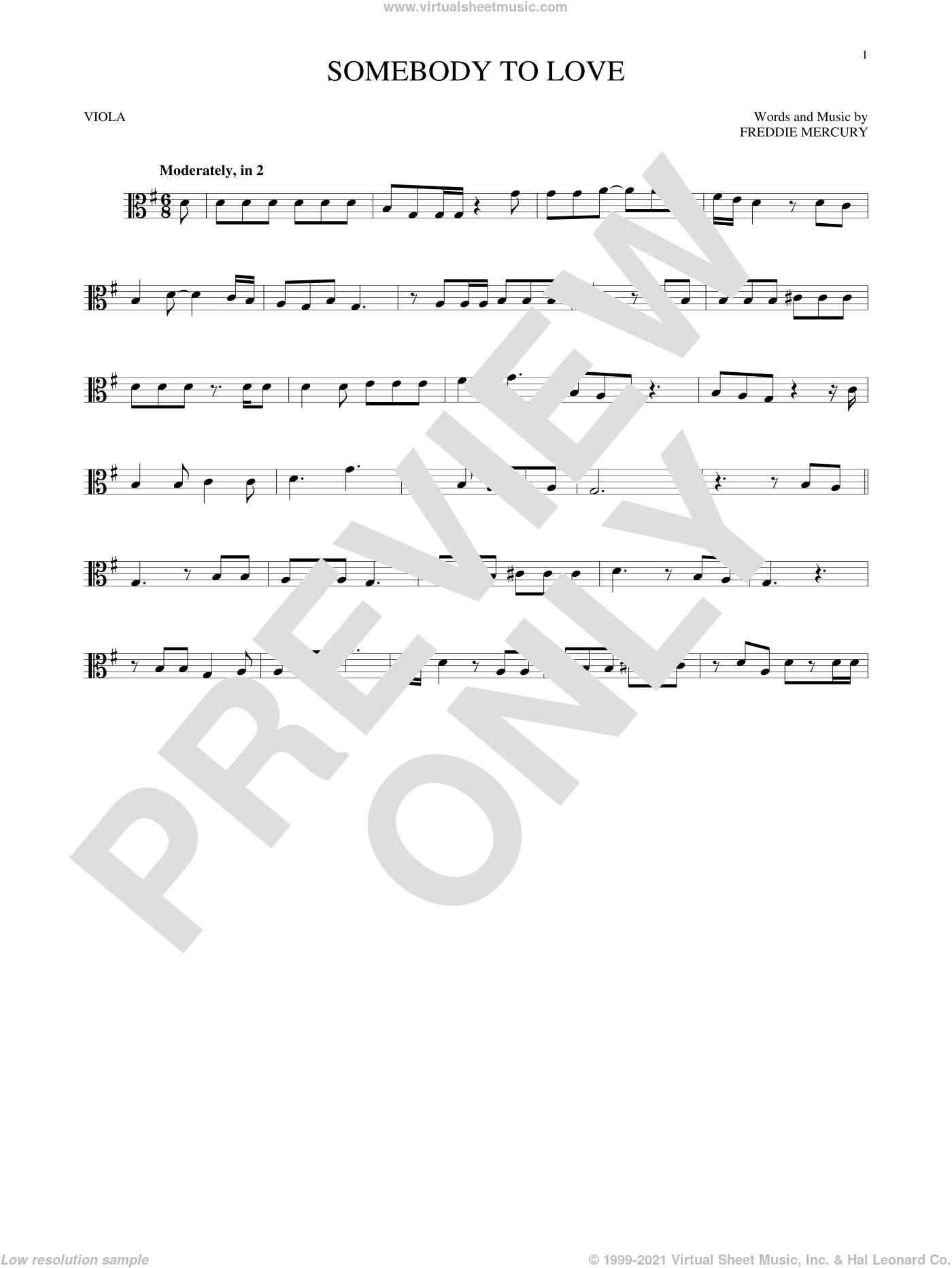 Somebody To Love sheet music for viola solo by Queen and Freddie Mercury, intermediate skill level