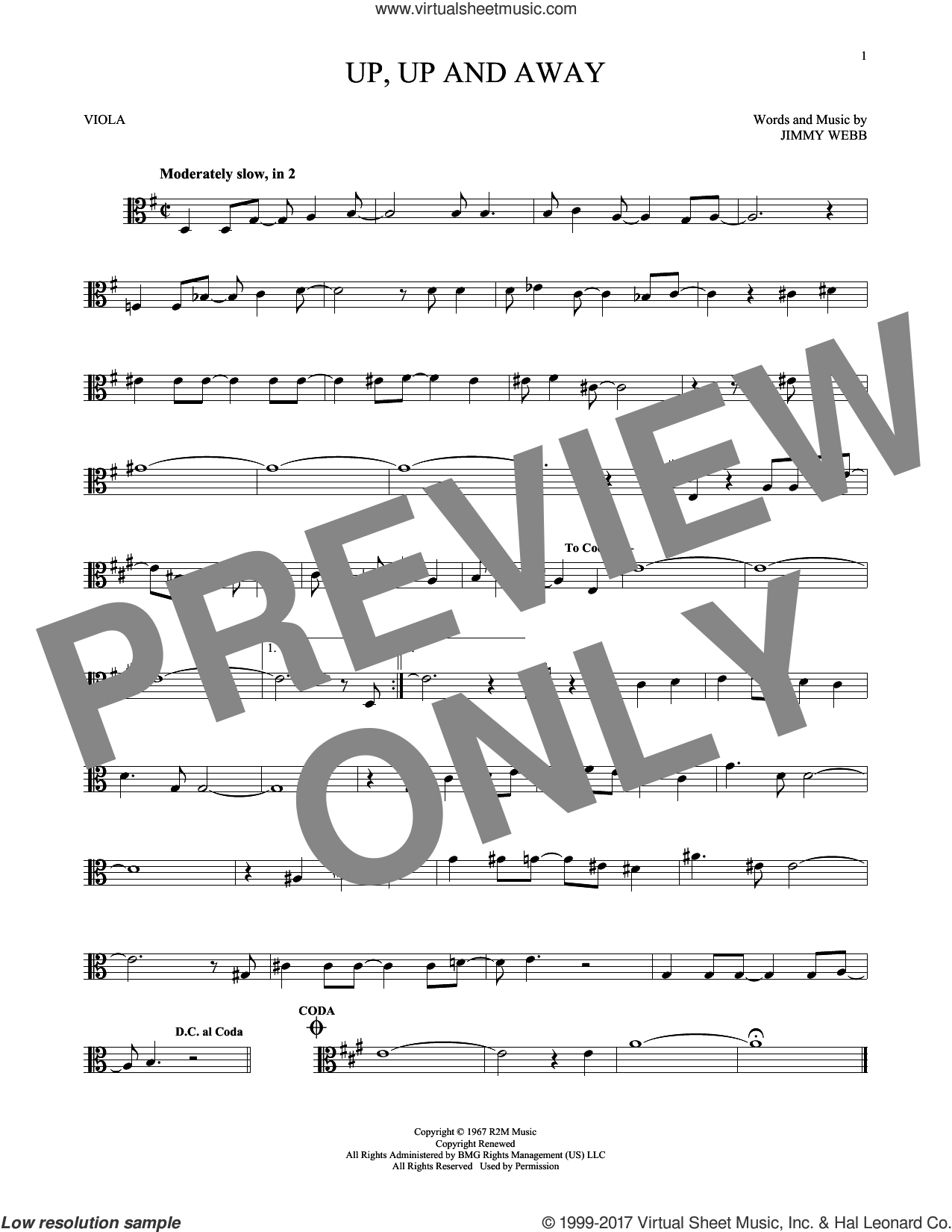 Up, Up And Away sheet music for viola solo by The Fifth Dimension and Jimmy Webb, intermediate skill level
