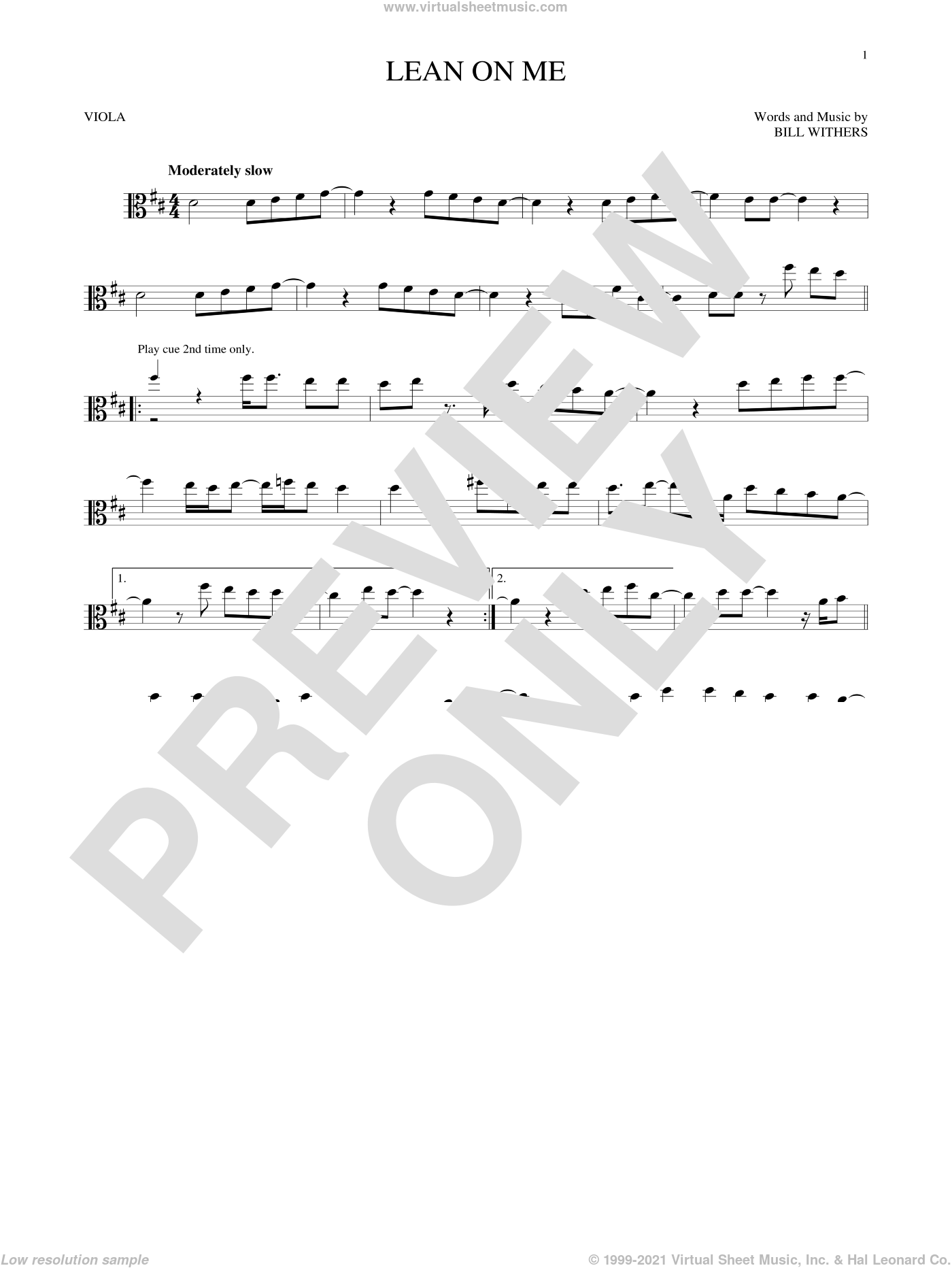 Lean On Me sheet music for viola solo by Bill Withers, intermediate skill level