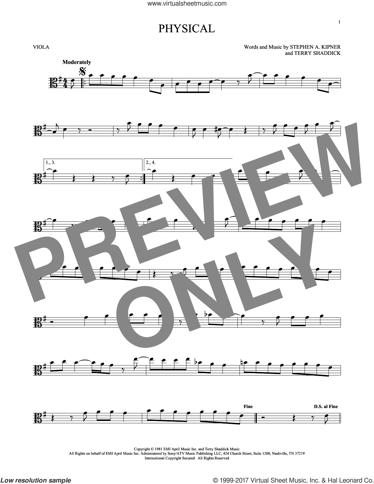Physical sheet music for viola solo by Olivia Newton-John, intermediate. Score Image Preview.