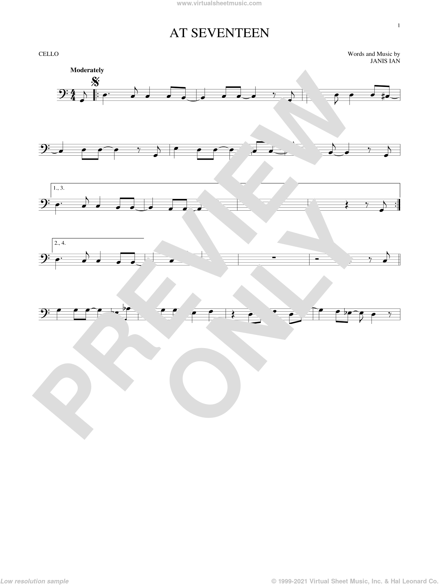 At Seventeen sheet music for cello solo by Janis Ian, intermediate skill level