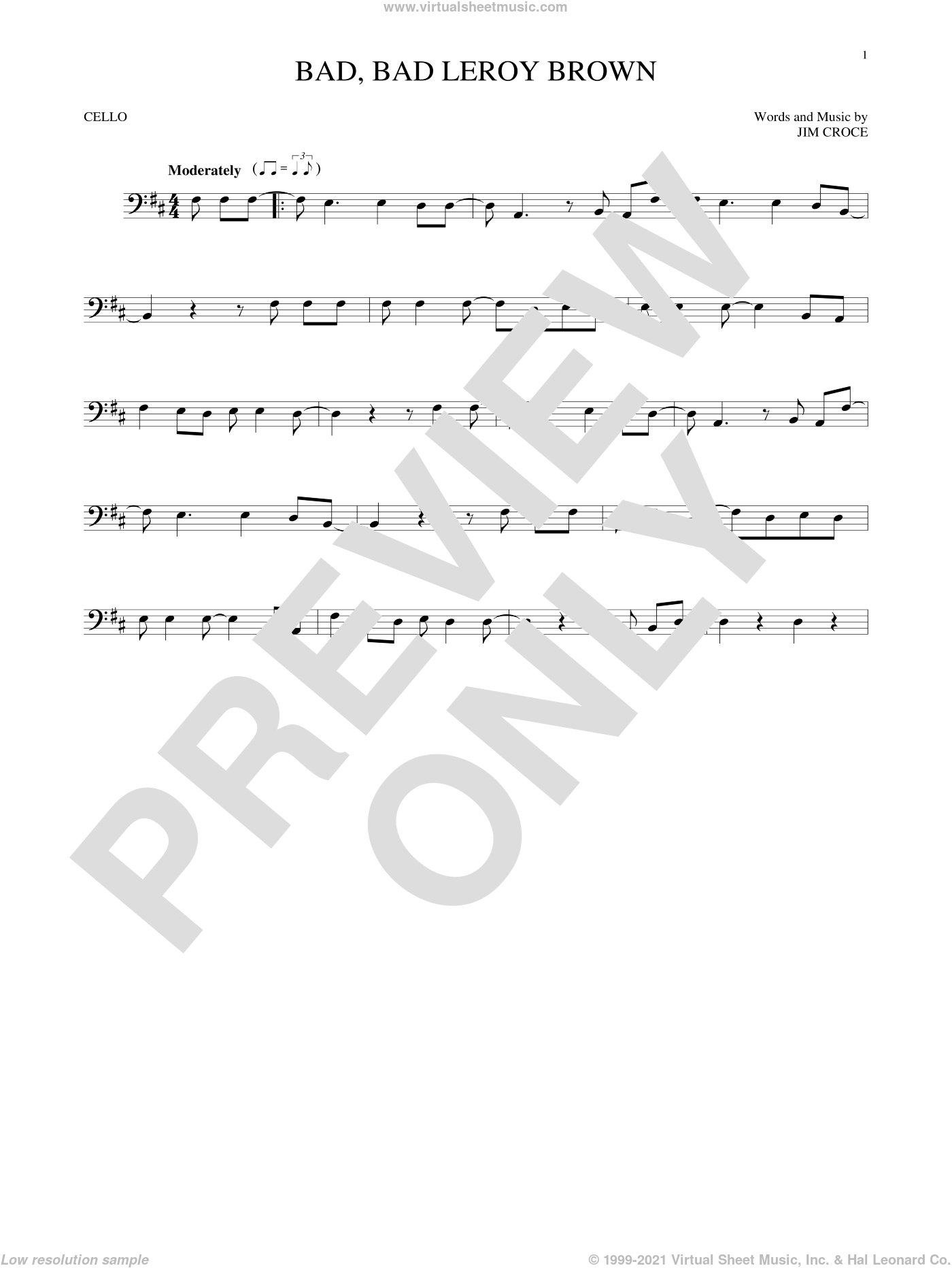 Bad, Bad Leroy Brown sheet music for cello solo by Jim Croce, intermediate skill level