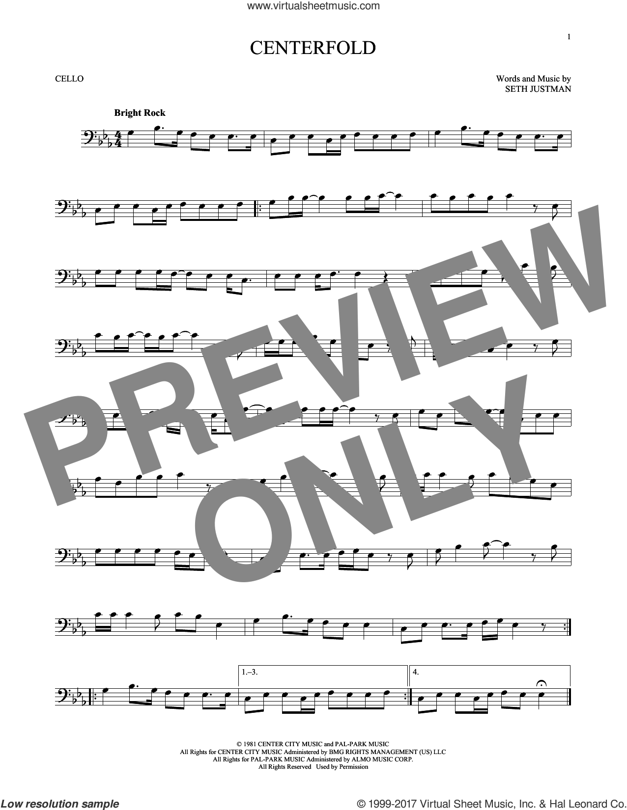 Centerfold sheet music for cello solo by J. Geils Band and Seth Justman, intermediate skill level