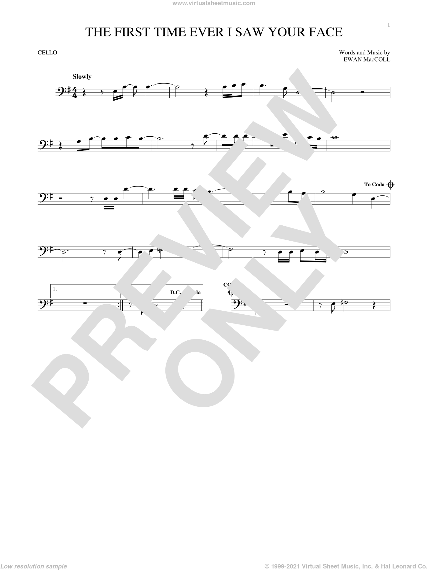 The First Time Ever I Saw Your Face sheet music for cello solo by Roberta Flack and Ewan MacColl, intermediate skill level