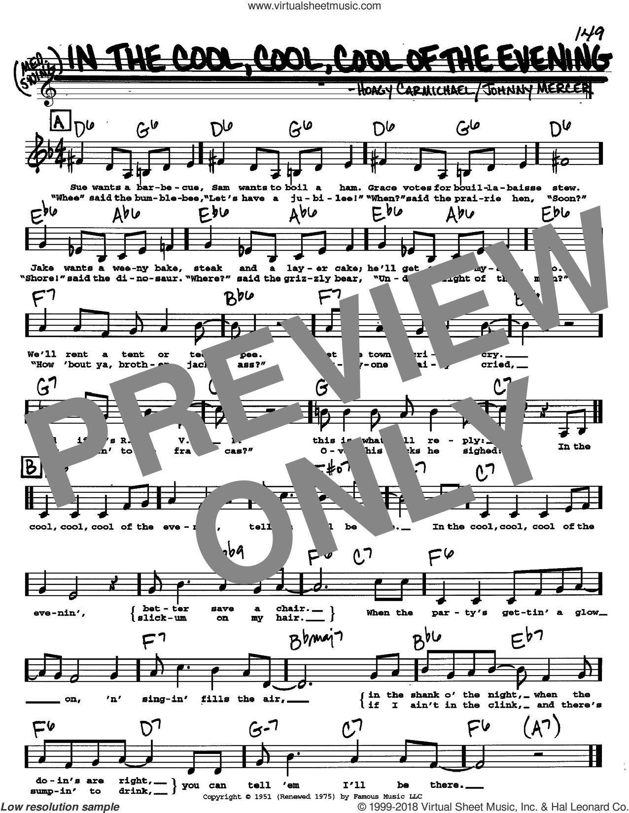 In The Cool, Cool, Cool Of The Evening sheet music for voice and other instruments  by Hoagy Carmichael and Johnny Mercer, intermediate skill level