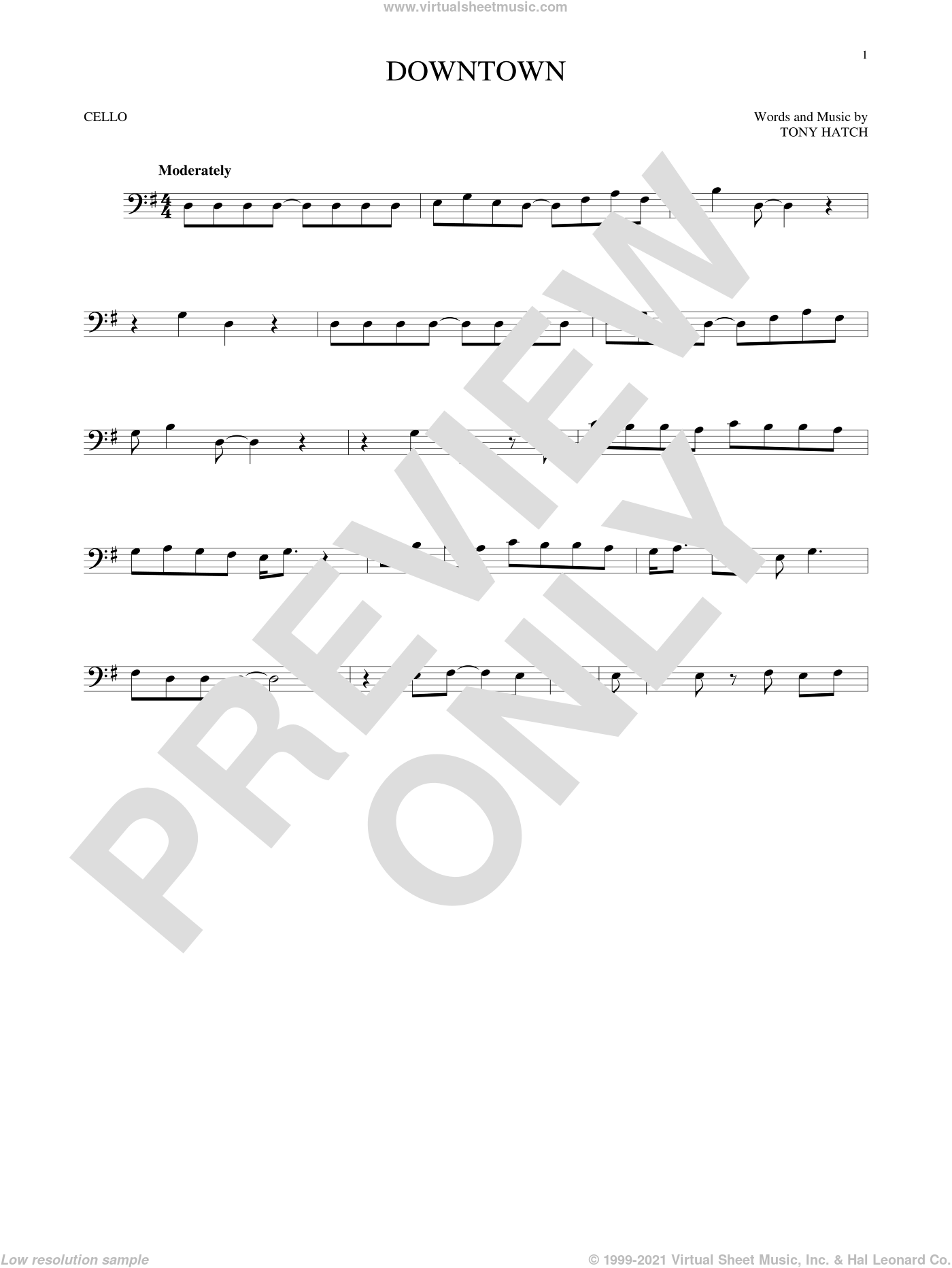 Downtown sheet music for cello solo by Petula Clark and Tony Hatch. Score Image Preview.