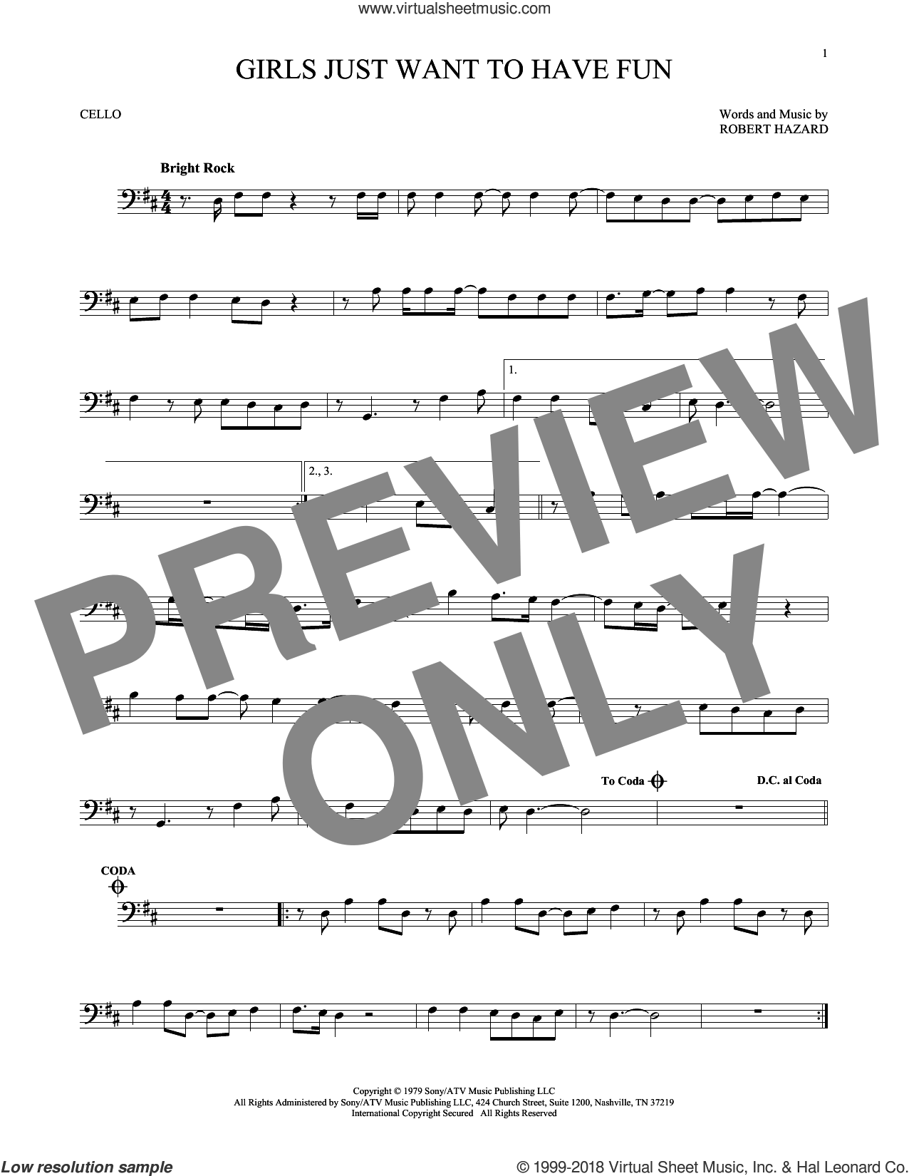 Girls Just Want To Have Fun sheet music for cello solo by Cyndi Lauper and Robert Hazard, intermediate skill level