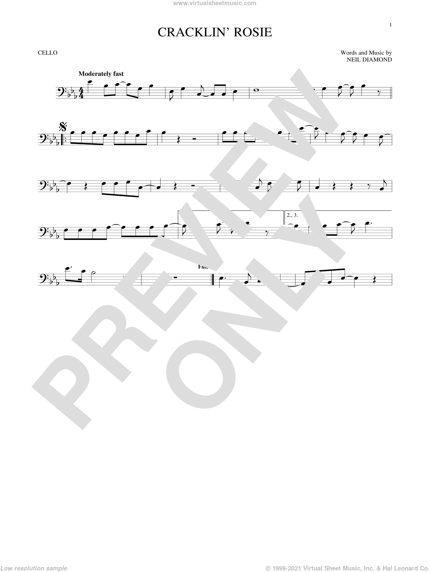 Cracklin' Rosie sheet music for cello solo by Neil Diamond, intermediate skill level