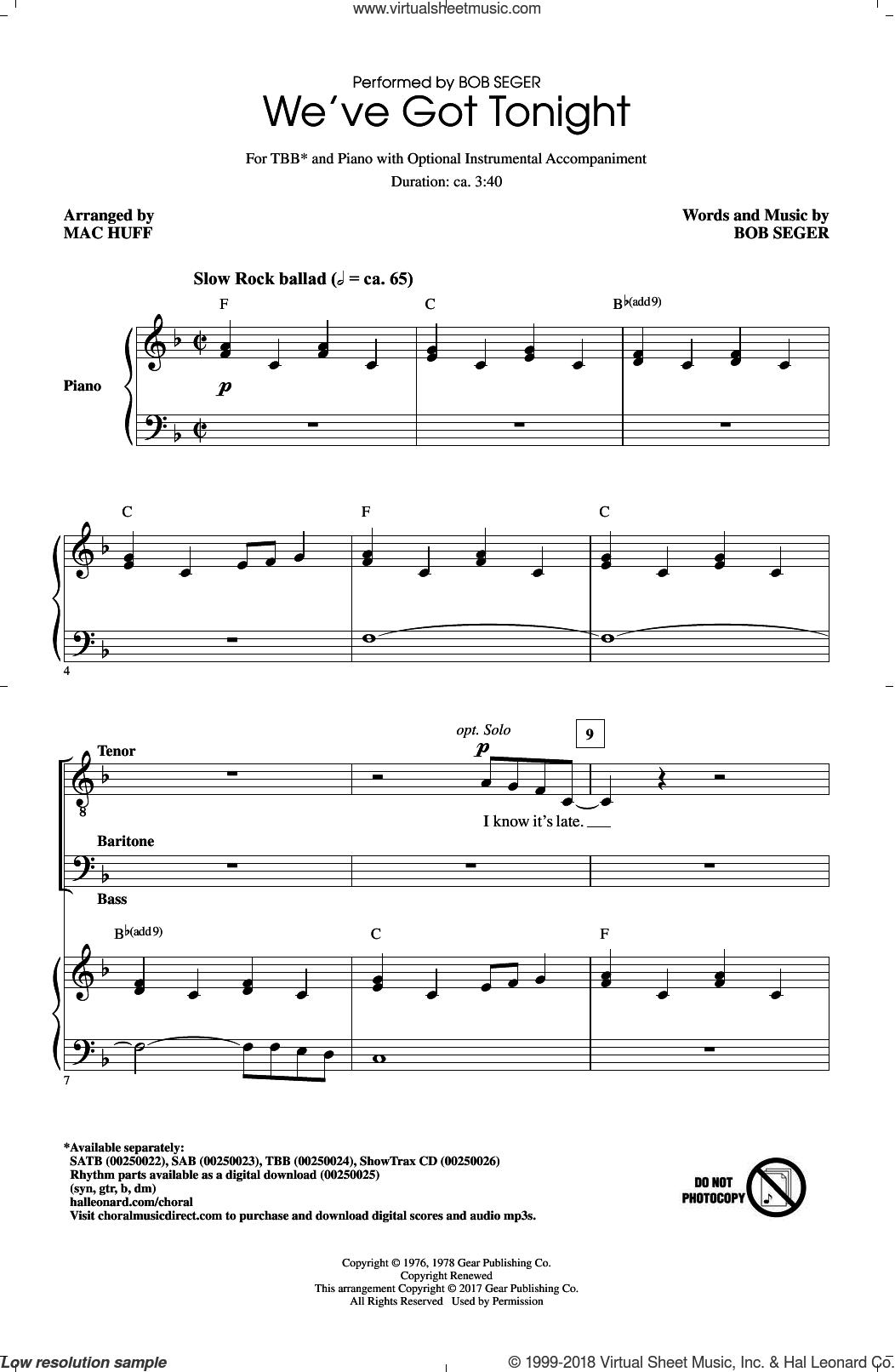 We've Got Tonight sheet music for choir (TBB: tenor, bass) by Bob Seger, Mac Huff, Kenny Rogers & Sheena Easton and Phillip Phillips, intermediate skill level